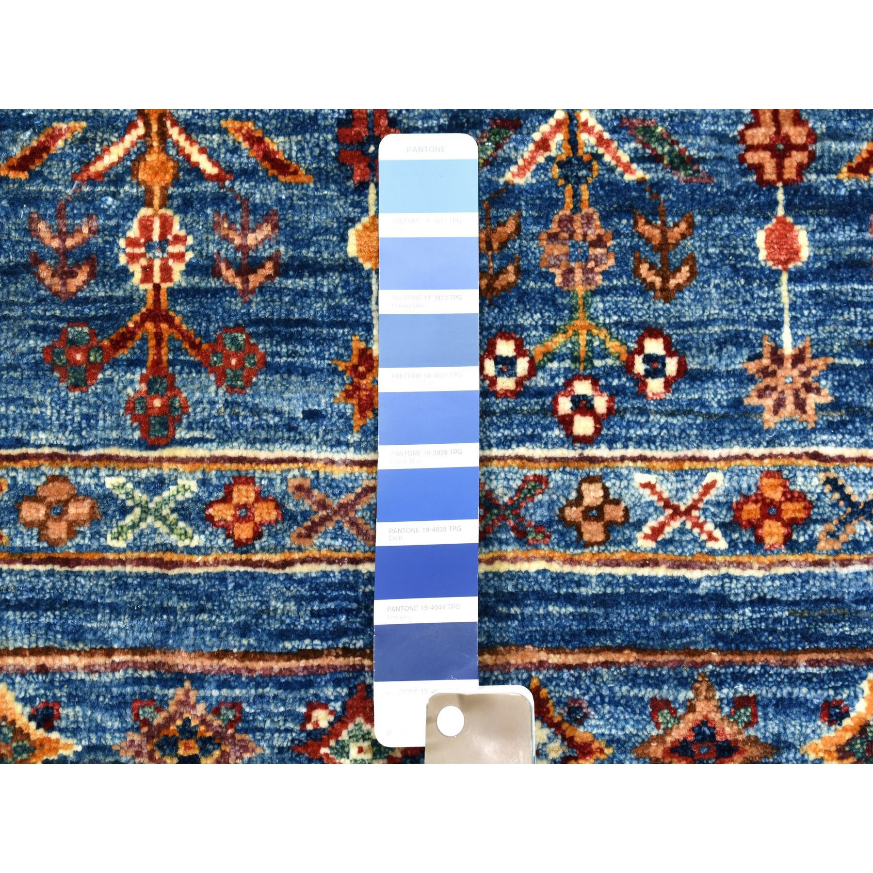 3-4 x5- Khorjin Design Blue Super Kazak Pure Wool Hand Knotted Oriental Rug
