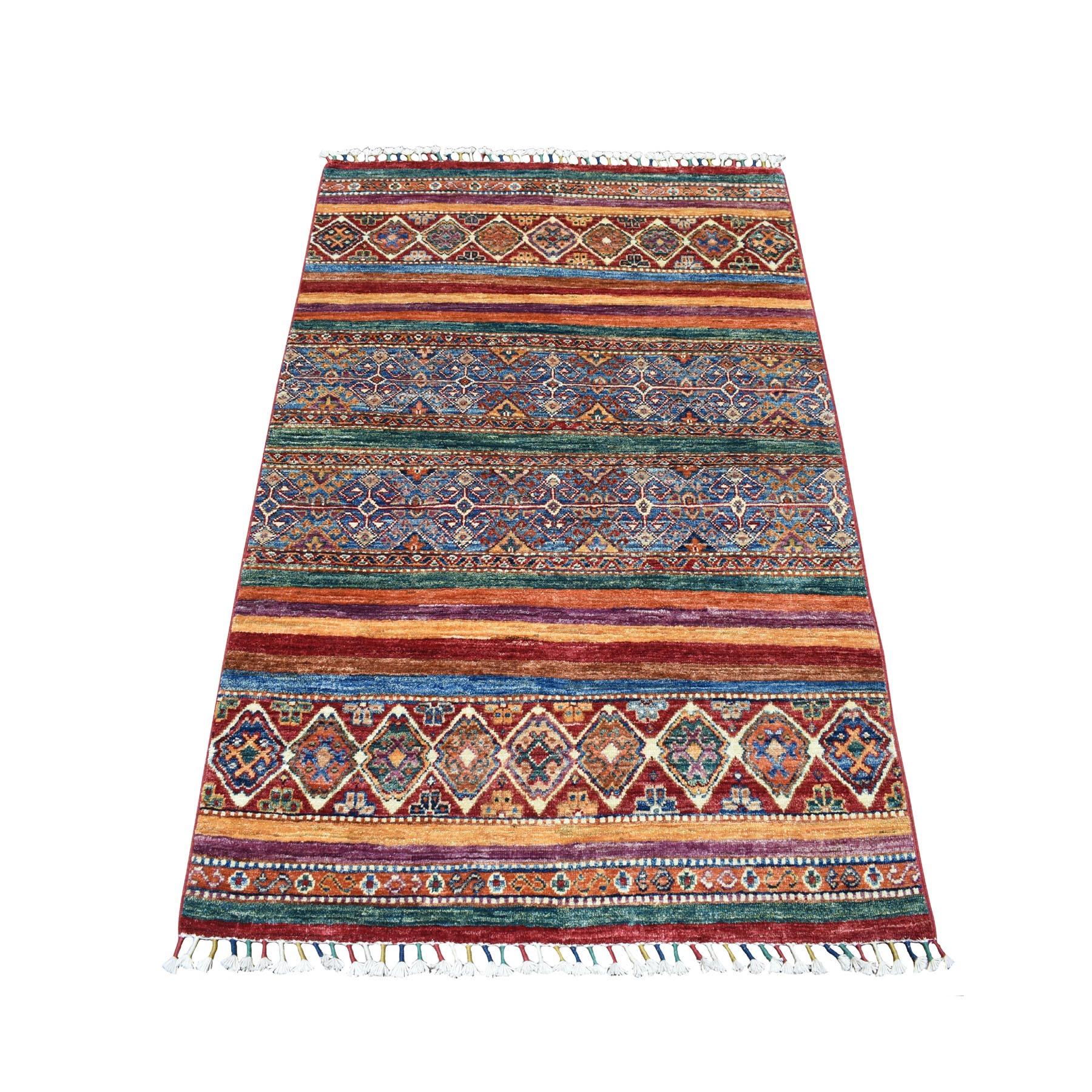 "3'5""X4'10"" Khorjin Design Colorful Super Kazak Pure Wool Hand Knotted Oriental Rug moaebcaa"