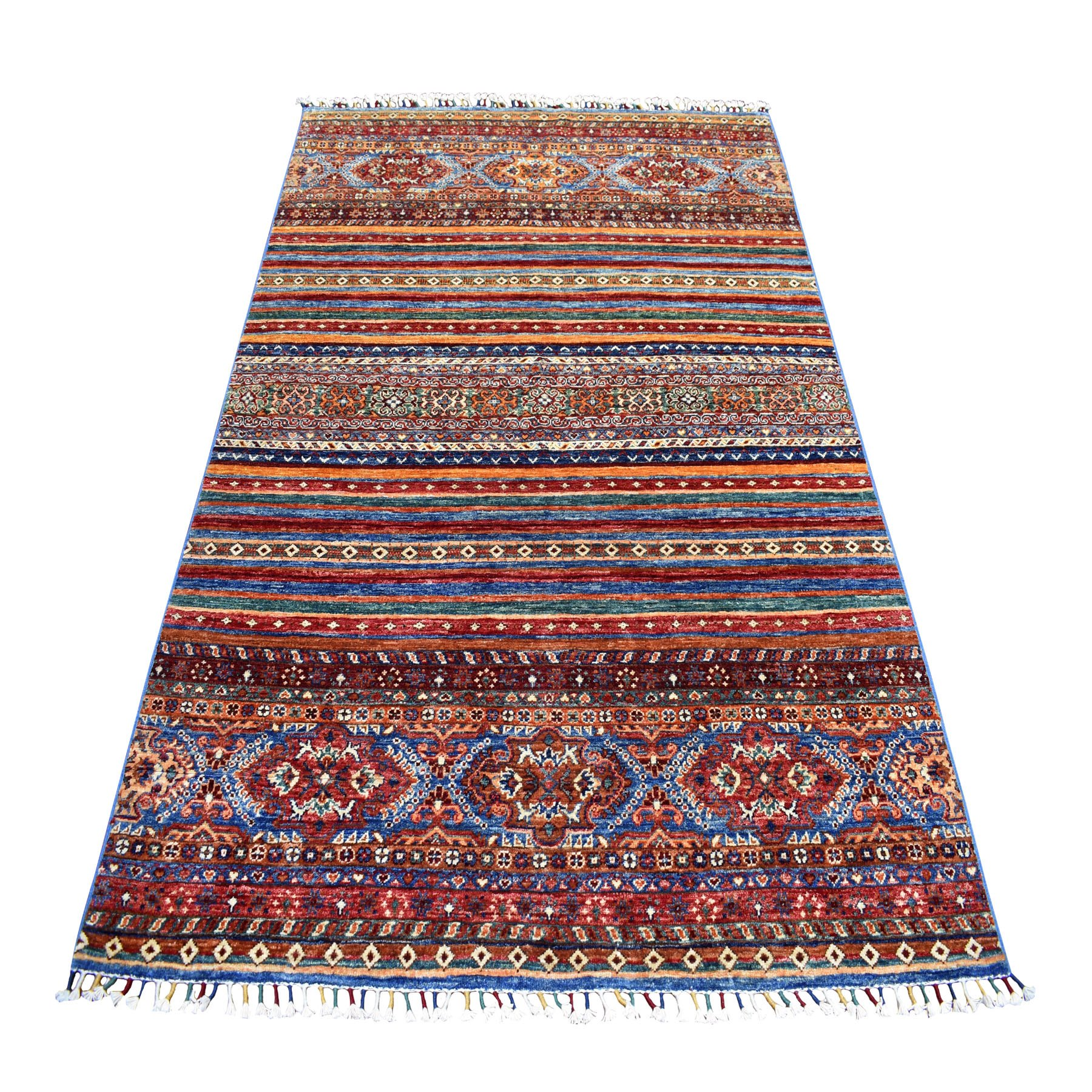 "4'10""X6'9"" Khorjin Design Colorful Super Kazak Pure Wool Hand Knotted Oriental Rug moaebca6"