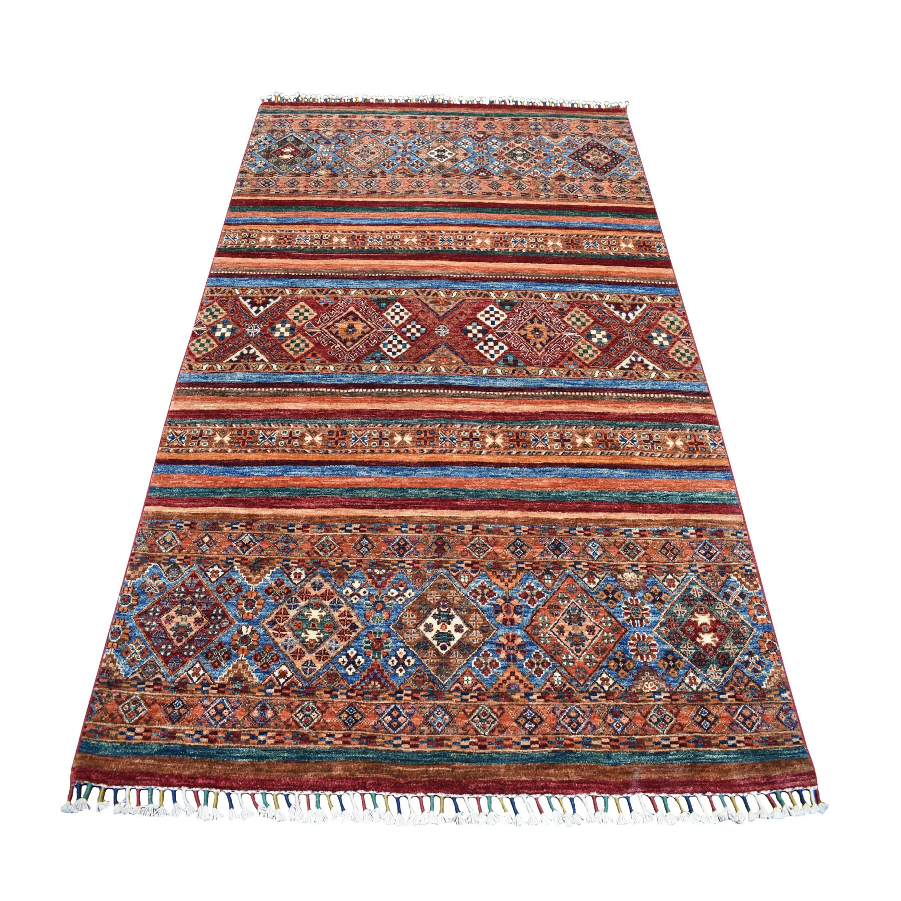 "5'x7'2"" Khorjin Design Colorful Super Kazak Pure Wool Hand Knotted Oriental Rug 52318"