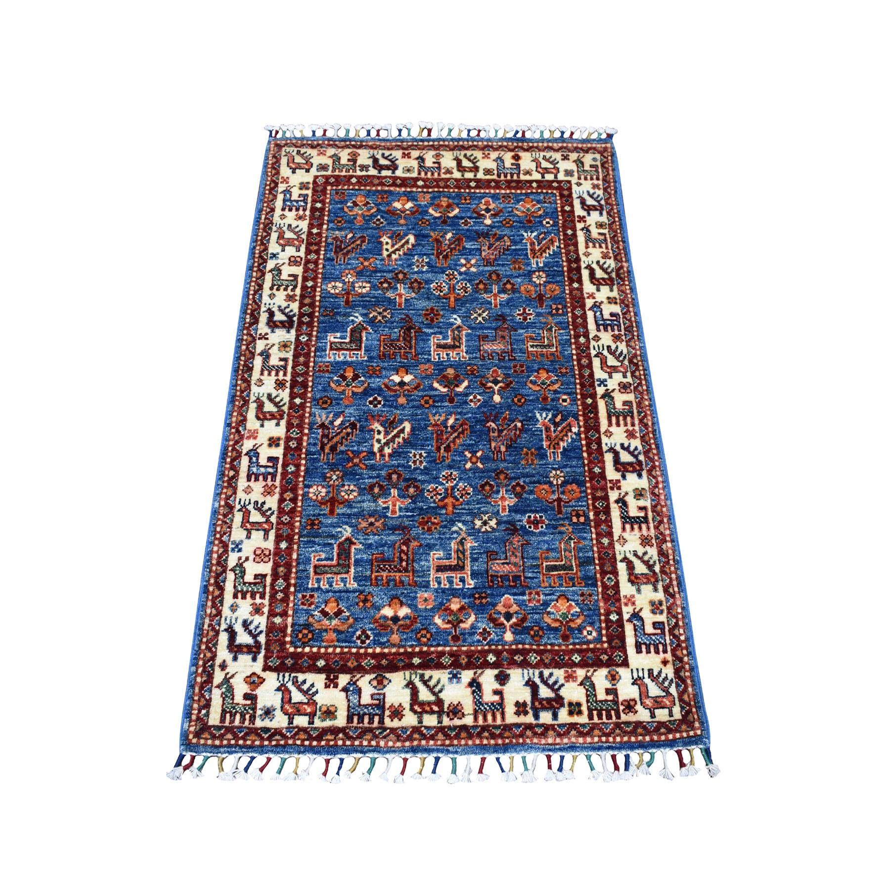 "2'7""x4' Khorjin Design Blue Super Kazak Pure Wool Hand Knotted Oriental Rug"