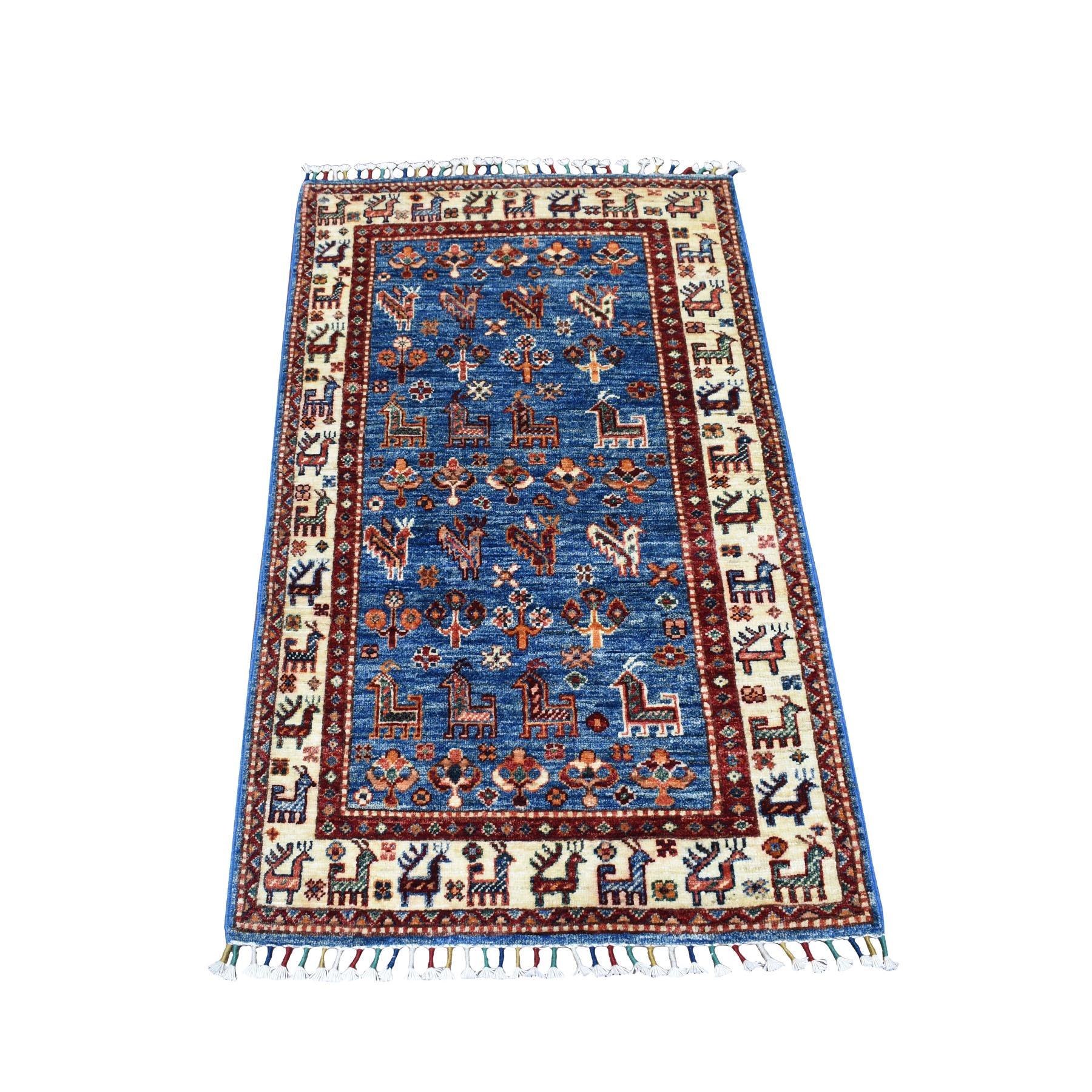"2'6""x4'1"" Khorjin Design Blue Super Kazak Pure Wool Hand Knotted Oriental Rug"