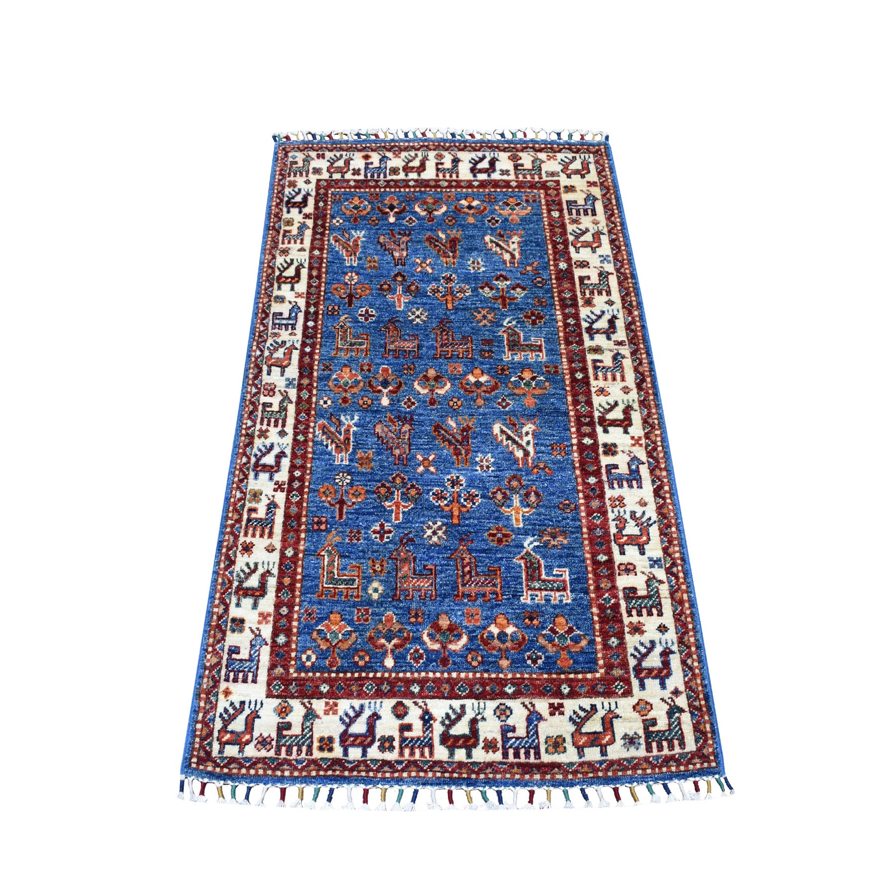 "2'7""x4'2"" Khorjin Design Blue Super Kazak Pure Wool Hand Knotted Oriental Rug"