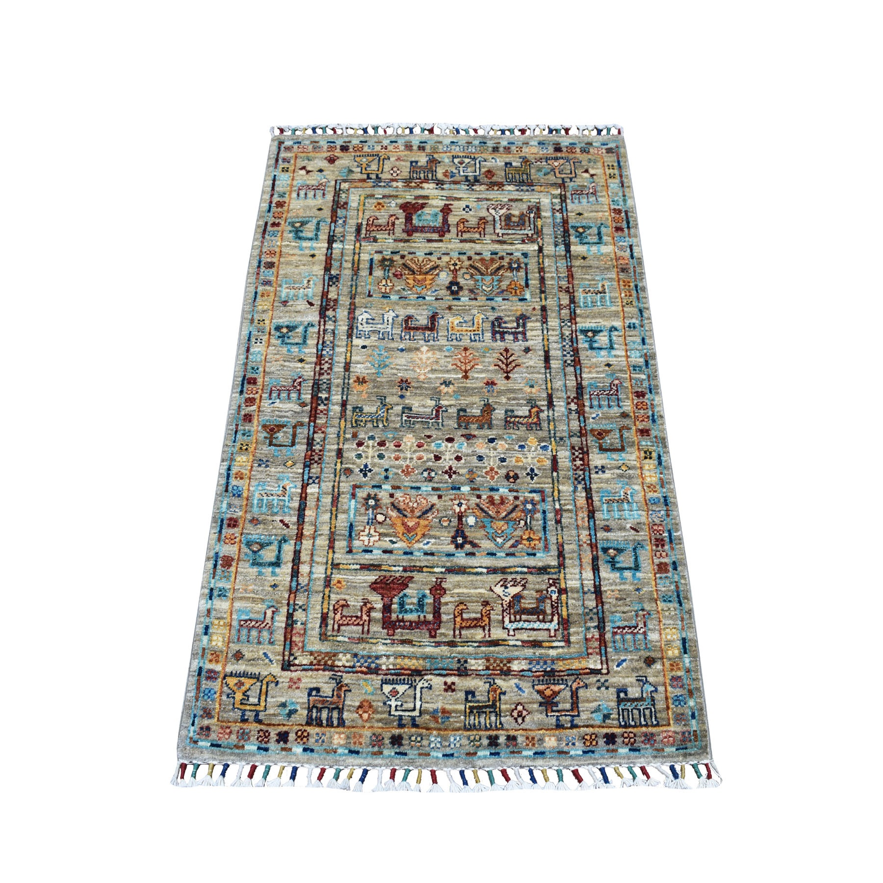 "2'7""x4' Khorjin Design Colorful Super Kazak Pure Wool Hand Knotted Oriental Rug"