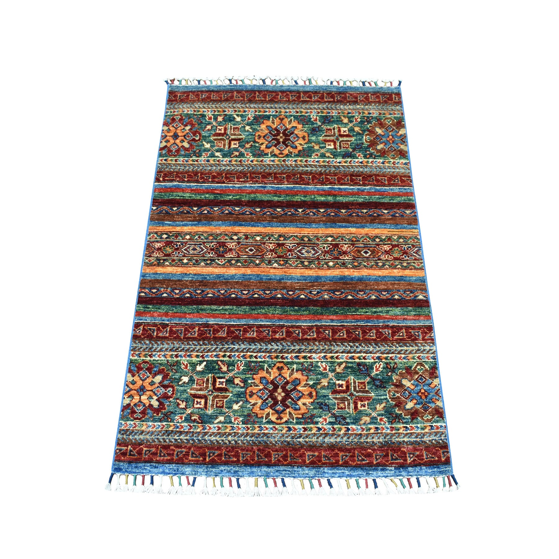 "2'8""x4' Khorjin Design Colorful Super Kazak Pure Wool Hand Knotted Oriental Rug"