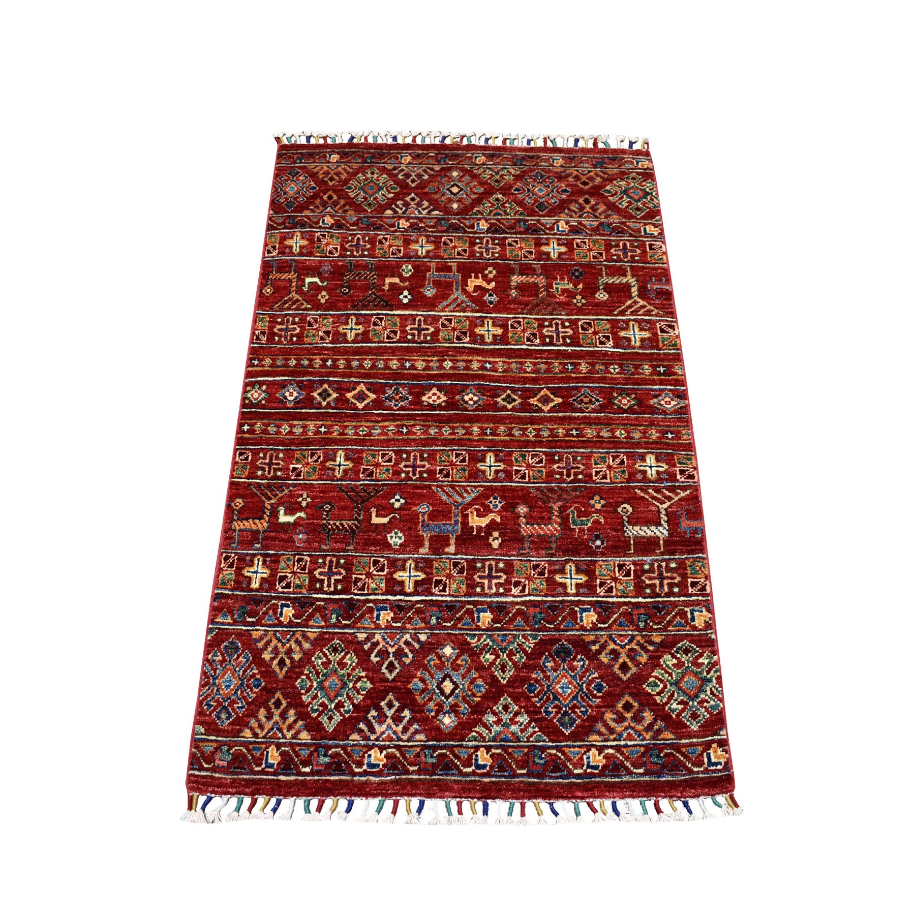 "2'8""x4'1"" Khorjin Design Red Super Kazak Pure Wool Hand Knotted Oriental Rug"