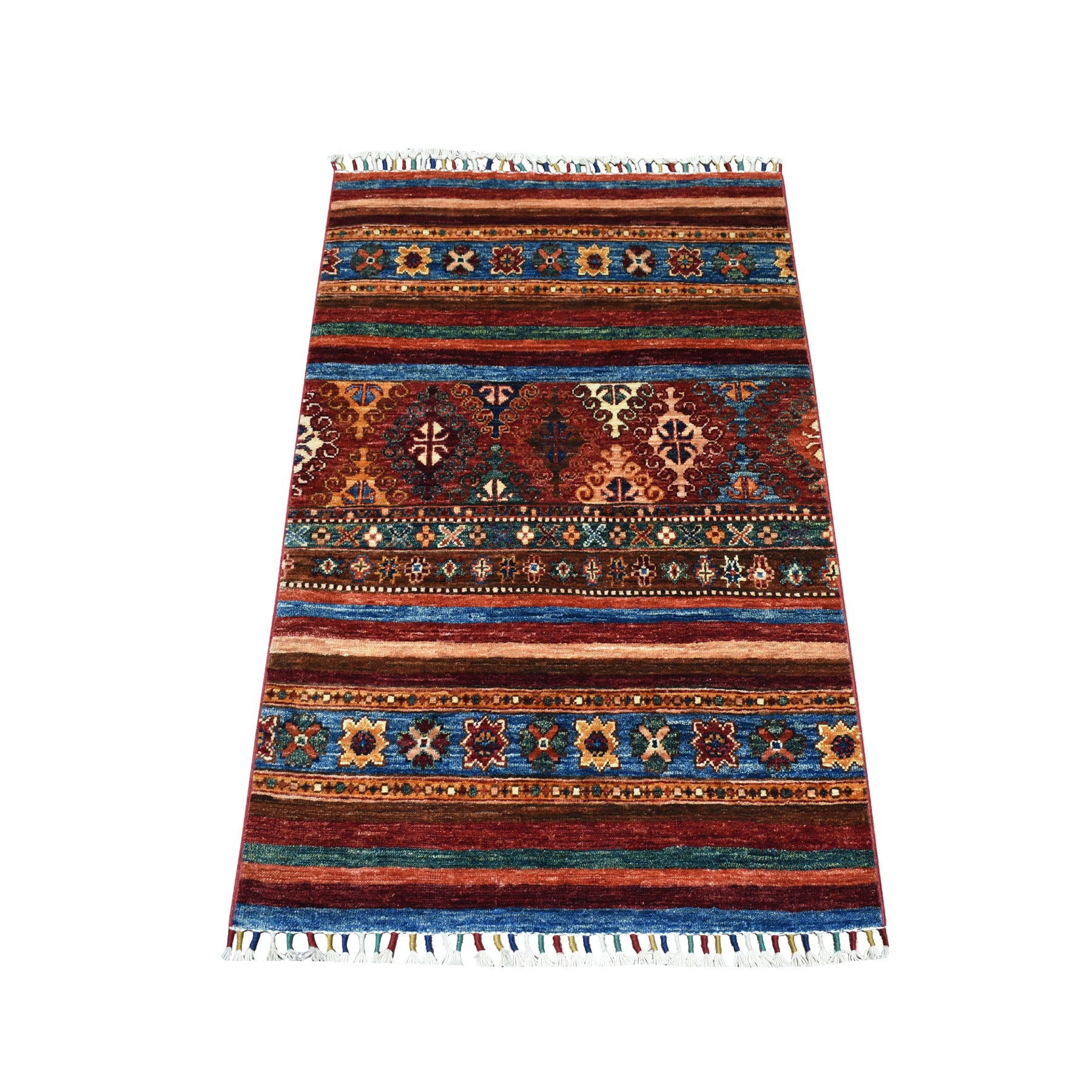 "2'6""x3'7"" Khorjin Design Colorful Super Kazak Pure Wool Hand Knotted Oriental Rug"