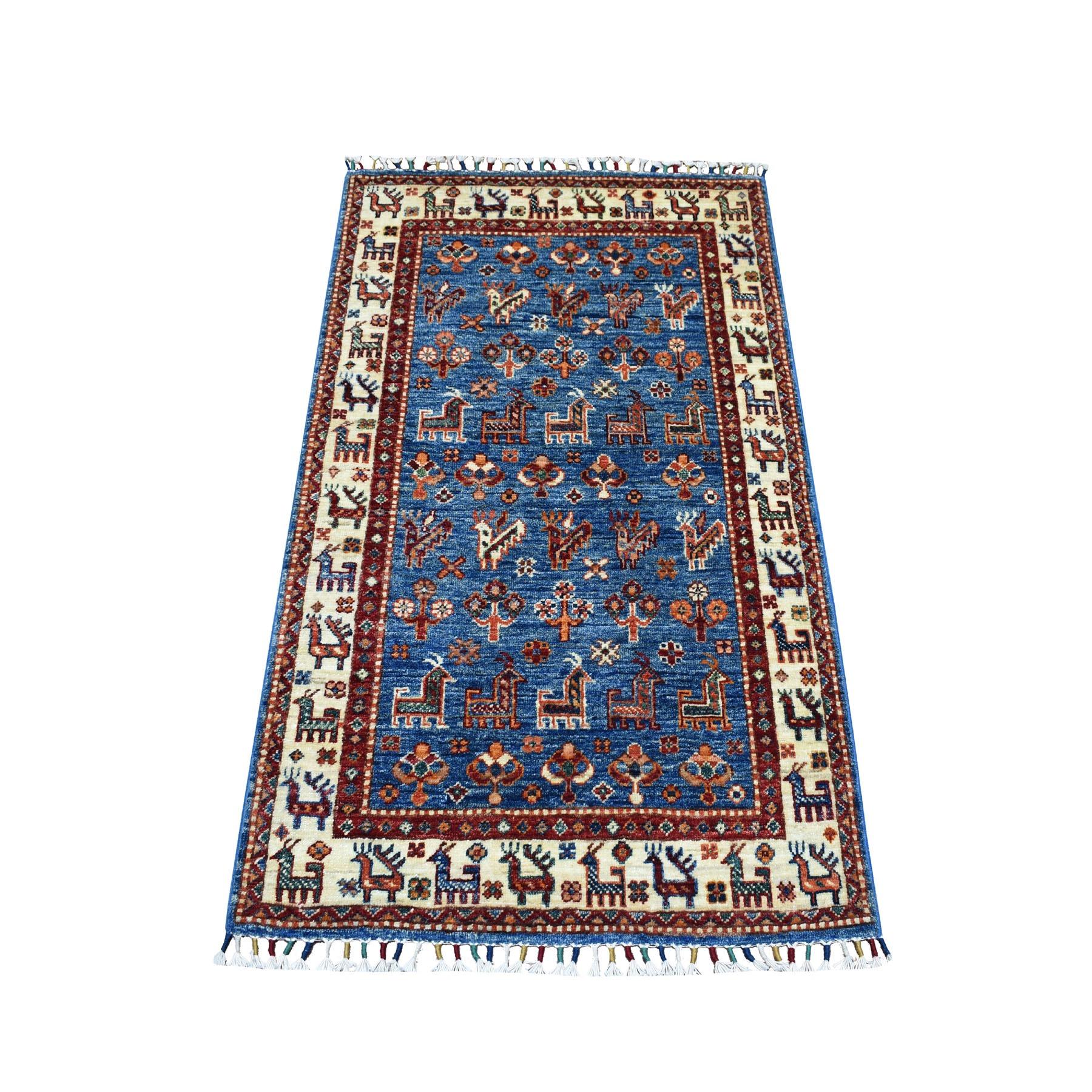 "2'8""x4'3"" Khorjin Design Blue Super Kazak Pure Wool Hand Knotted Oriental Rug"