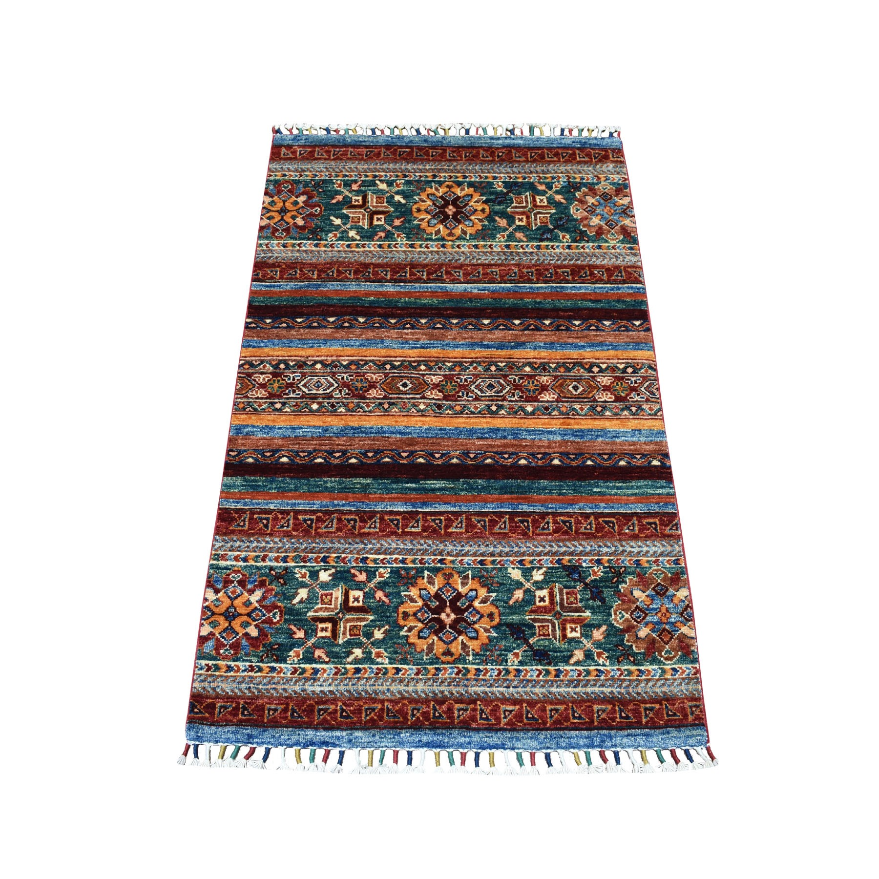 "2'7""x4'1"" Khorjin Design Colorful Super Kazak Pure Wool Hand Knotted Oriental Rug"