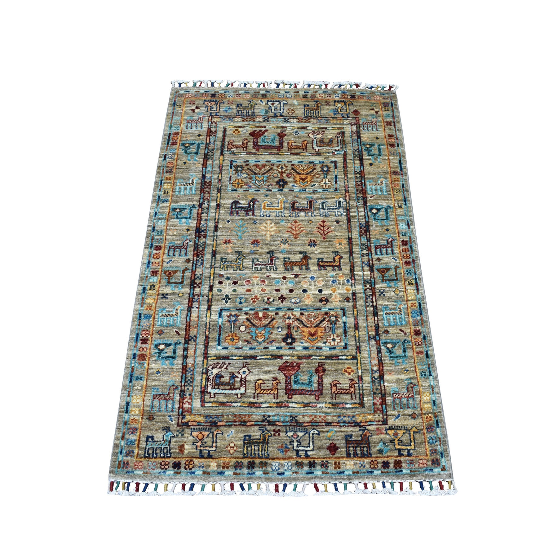 "2'6""x4' Khorjin Design Colorful Super Kazak Pure Wool Hand Knotted Oriental Rug"