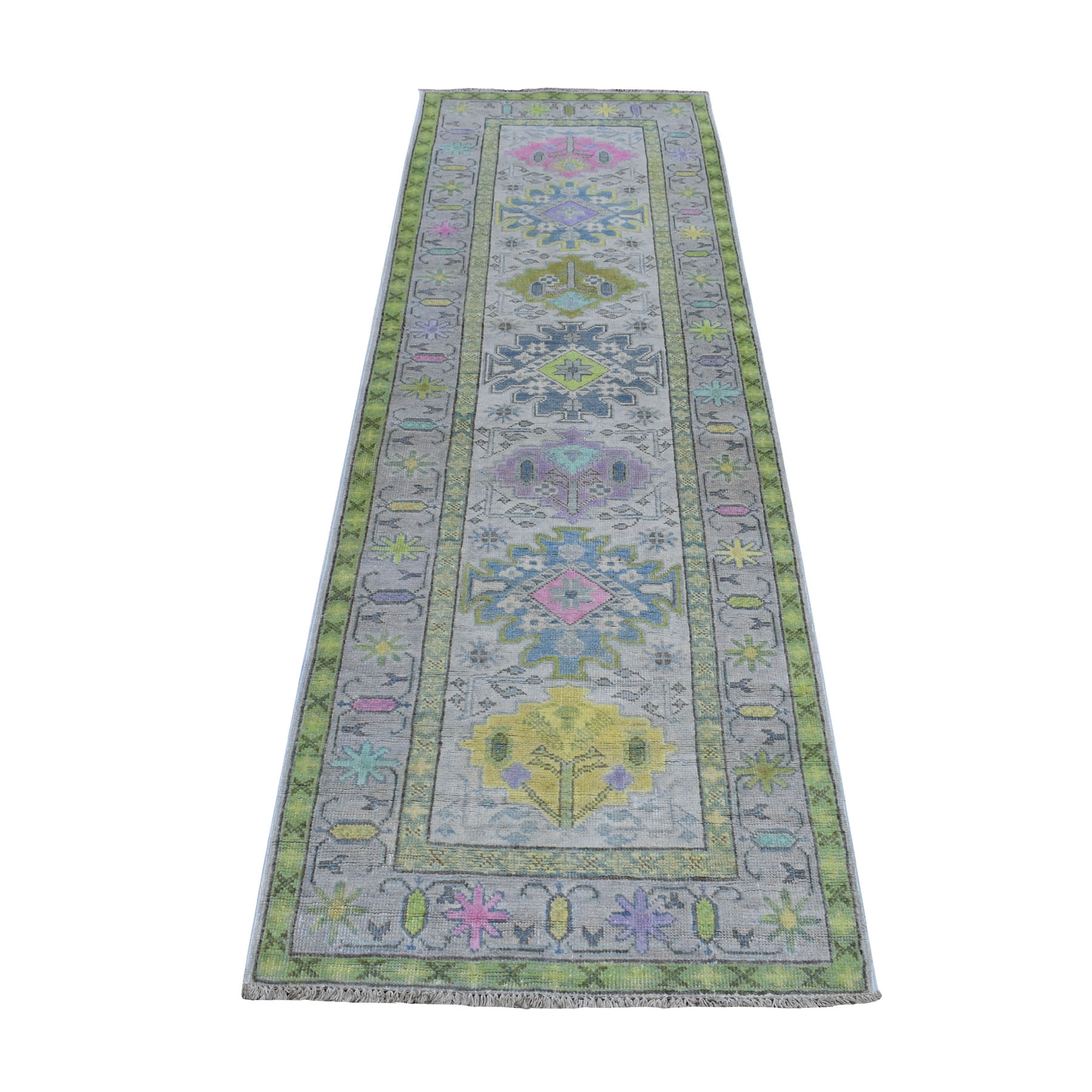 """2'6""""X8' Colorful Gray Fusion Kazak Runner Pure Wool Hand Knotted Oriental Rug moaebcc6"""