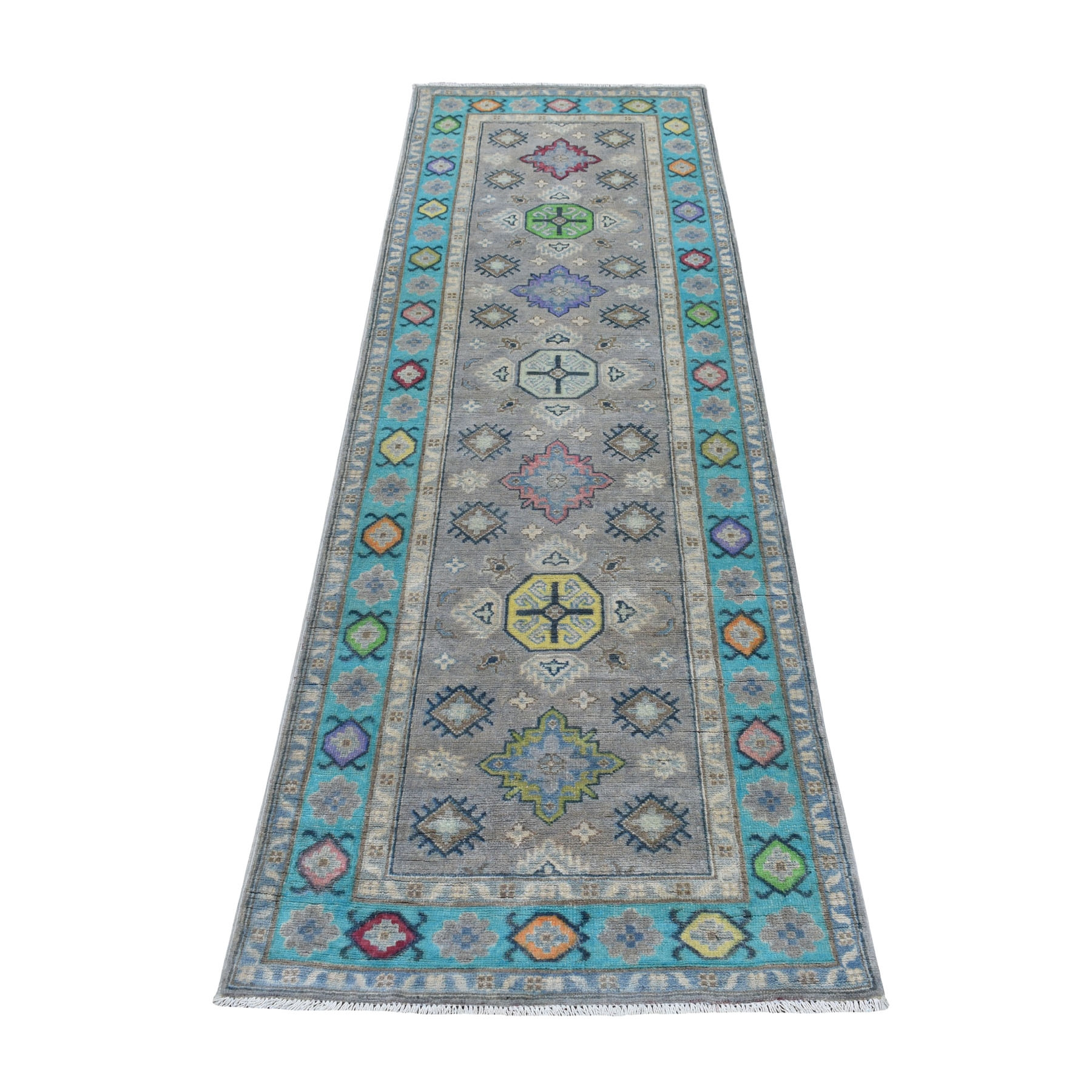 """2'6""""X7'9"""" Colorful Gray Fusion Kazak Runner Pure Wool Geometric Design Hand Knotted Oriental Rug moaebcc7"""