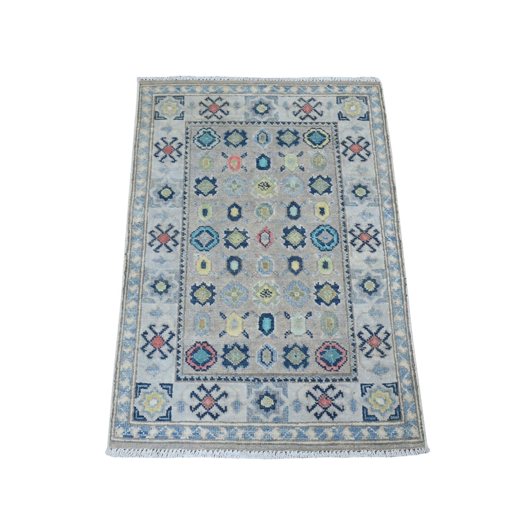 2'X3' Colorful Gray Fusion Kazak Pure Wool Geometric Design Hand Knotted Oriental Rug moaebcdc