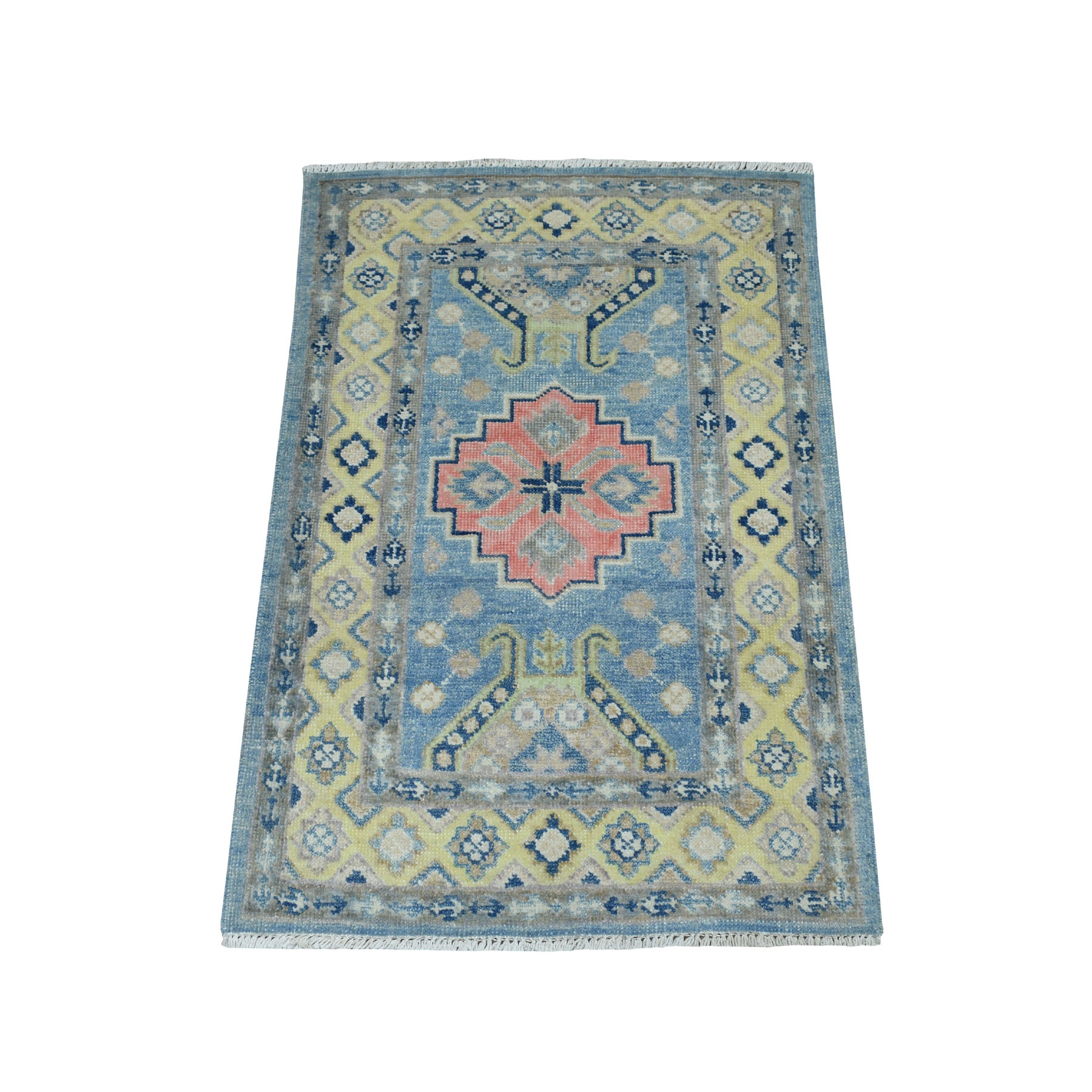 2'X3' Colorful Blue Fusion Kazak Pure Wool Hand Knotted Oriental Rug moaebcde