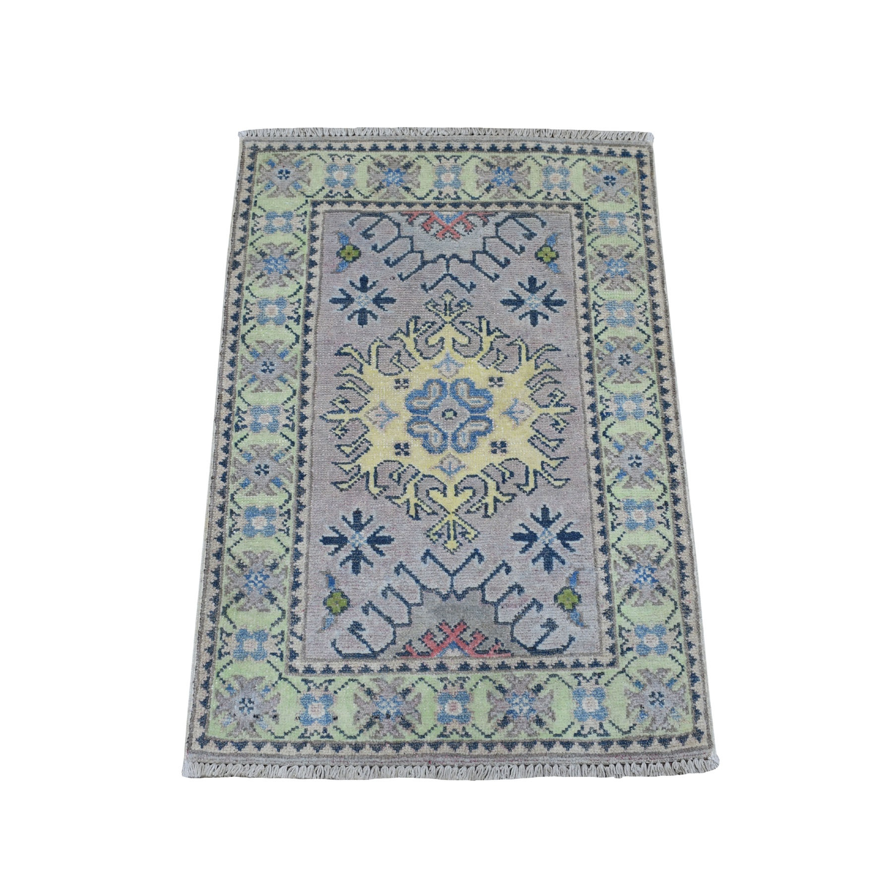"""2'X2'9"""" Colorful Gray Fusion Kazak Pure Wool Geometric Design Hand Knotted Oriental Rug moaebcd7"""