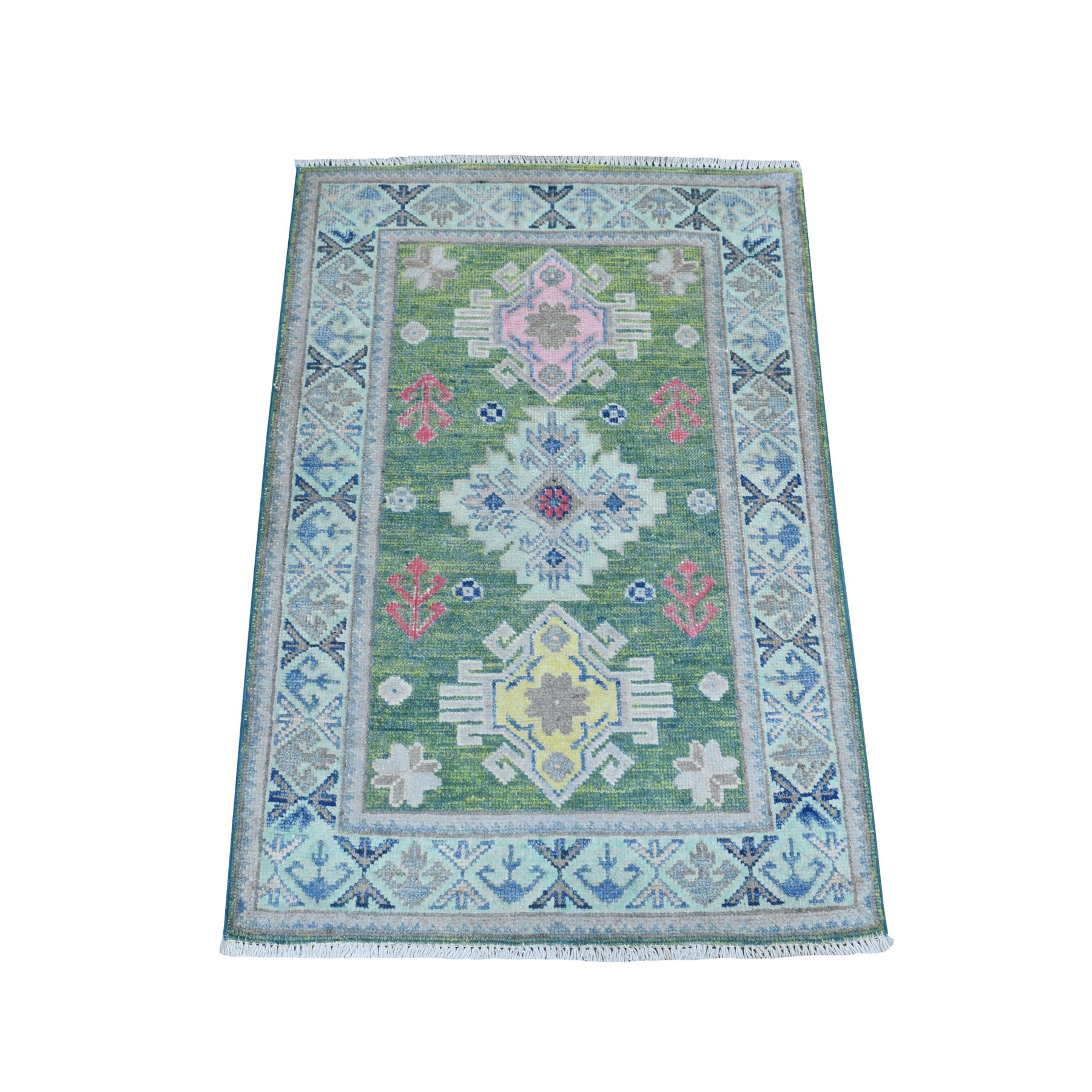 2'x3' Colorful Green Fusion Kazak Pure Wool Hand Knotted Oriental Rug