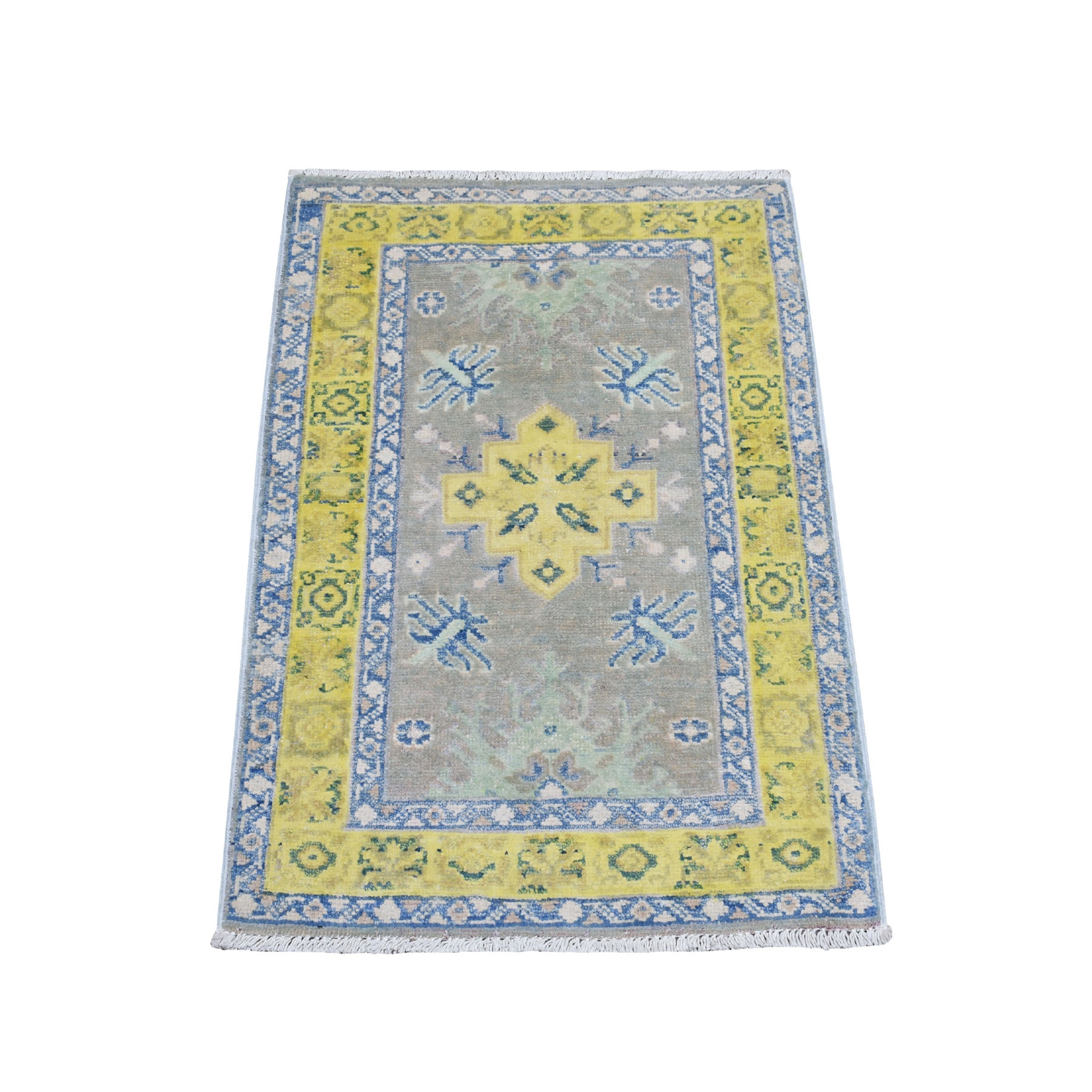 """1'10""""X2'10"""" Colorful Gray Fusion Kazak Pure Wool Geometric Design Hand Knotted Oriental Rug moaebcec"""