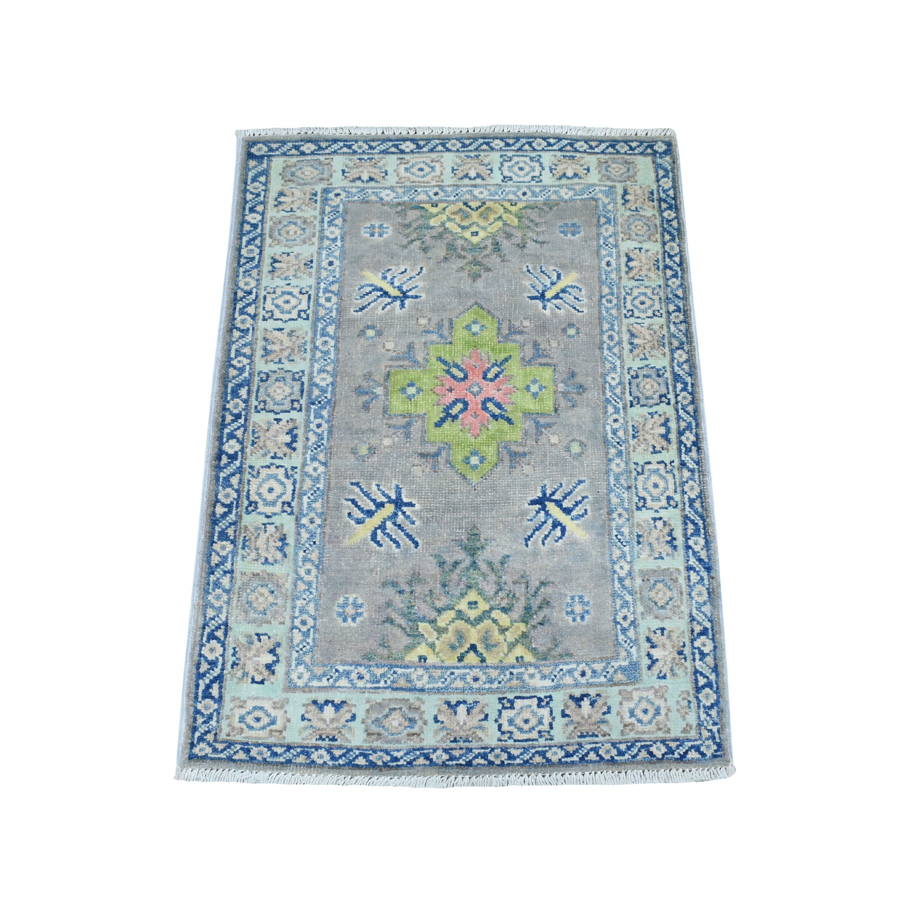 """2'X2'10"""" Colorful Gray Fusion Kazak Pure Wool Geometric Design Hand Knotted Oriental Rug moaebced"""
