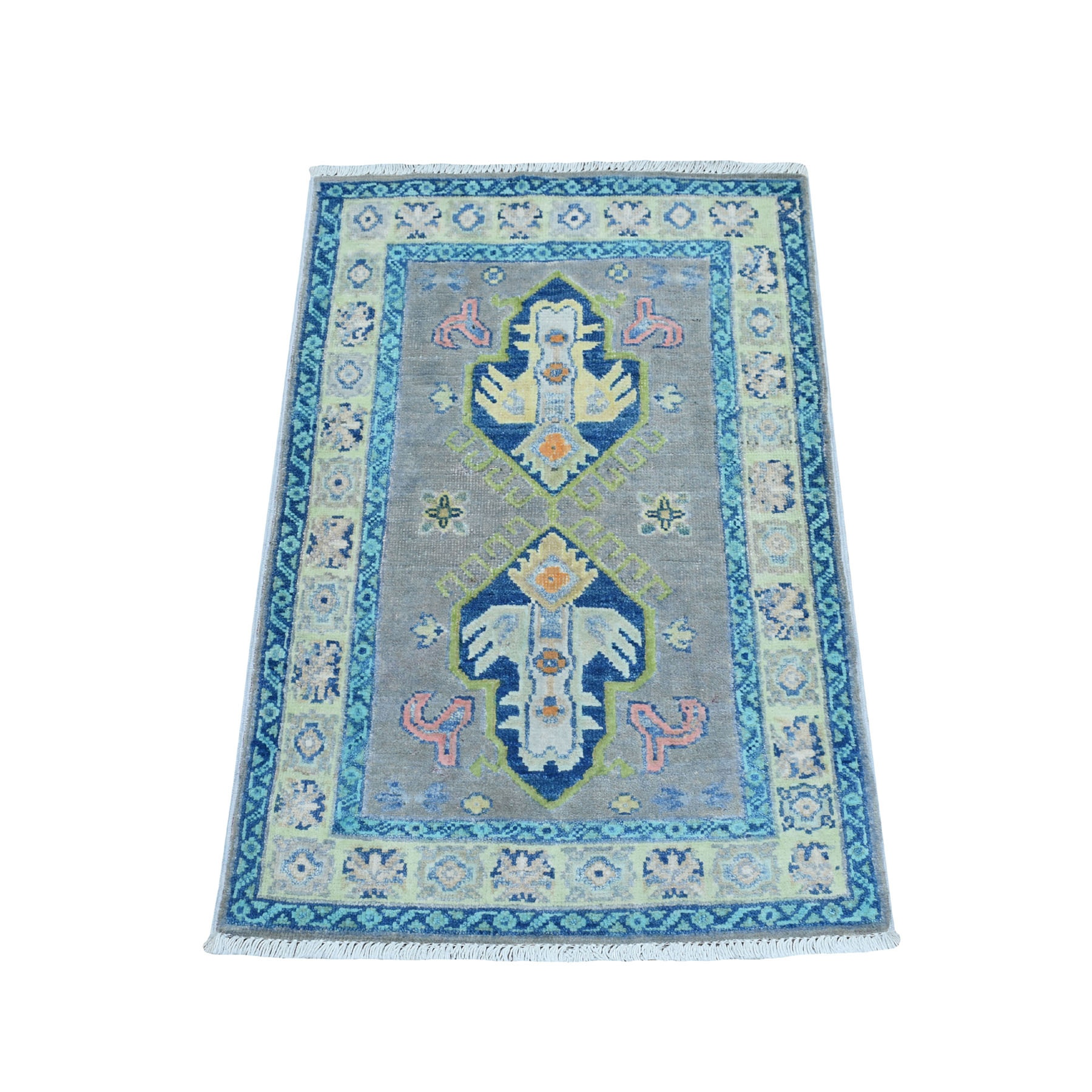 """1'9""""X3' Colorful Gray Fusion Kazak Pure Wool Geometric Design Hand Knotted Oriental Rug moaebcee"""