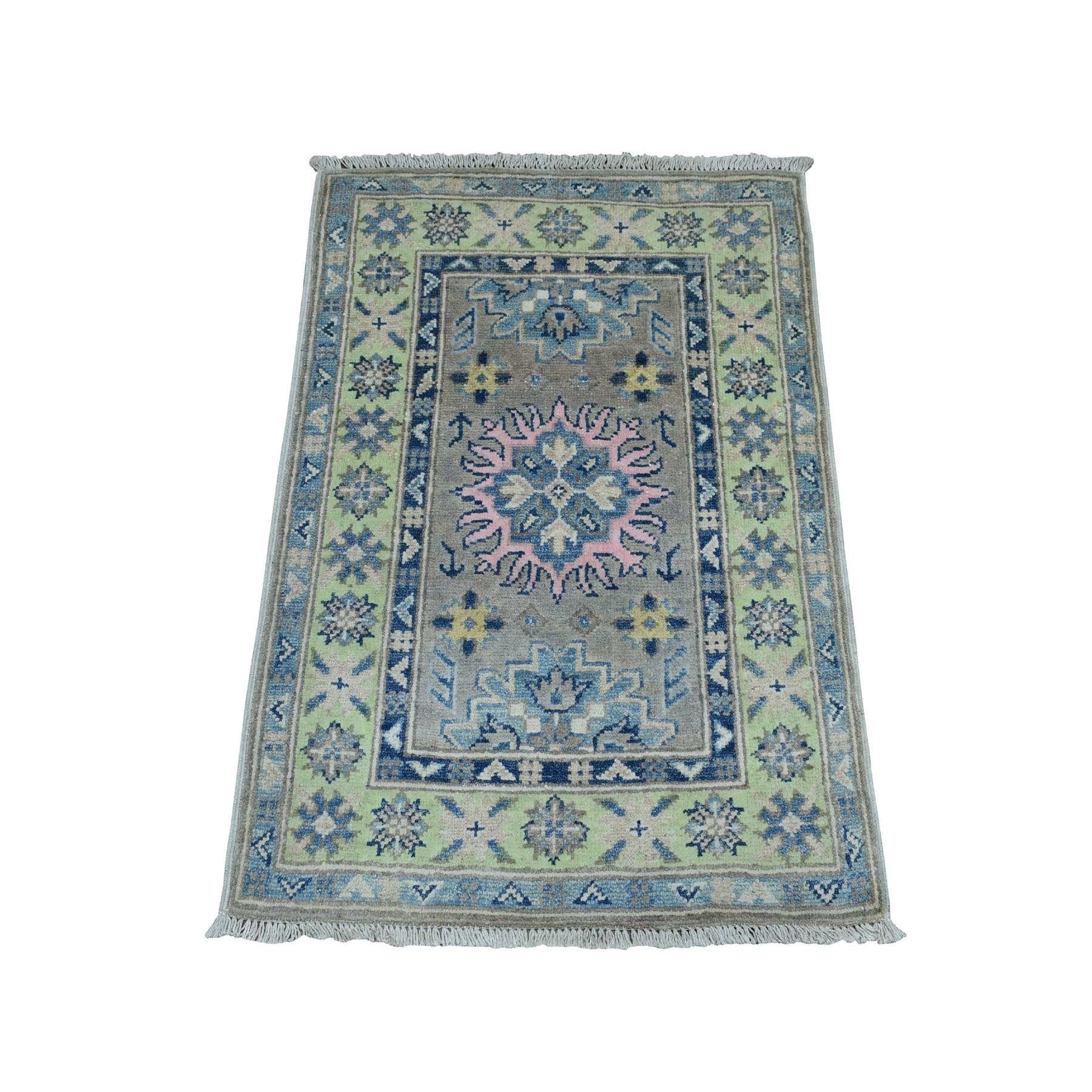 """2'X2'8"""" Colorful Gray Fusion Kazak Pure Wool Geometric Design Hand Knotted Oriental Rug moaebce8"""