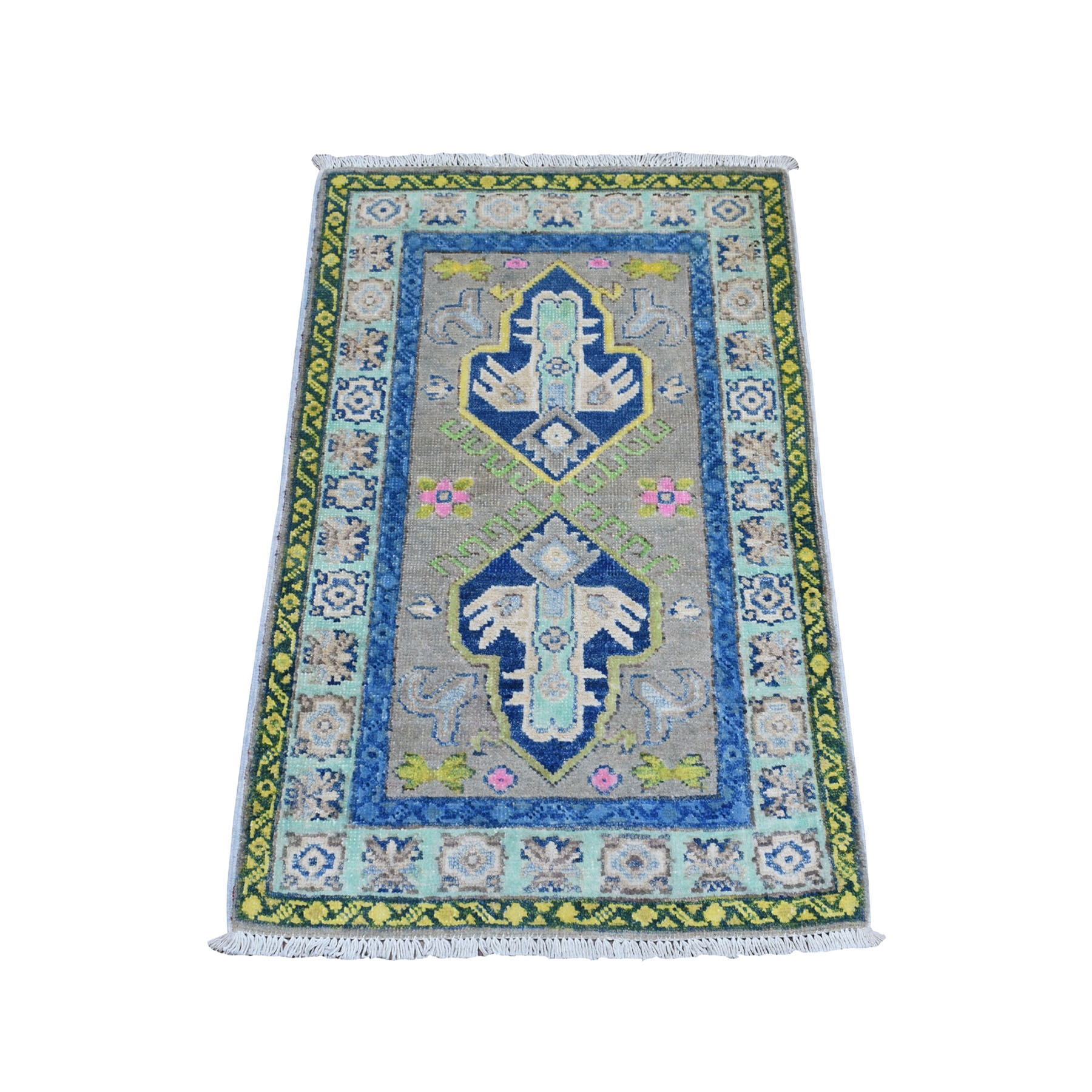 "1'10""X3' Colorful Gray Fusion Kazak Pure Wool Geometric Design Hand Knotted Oriental Rug moaebc60"