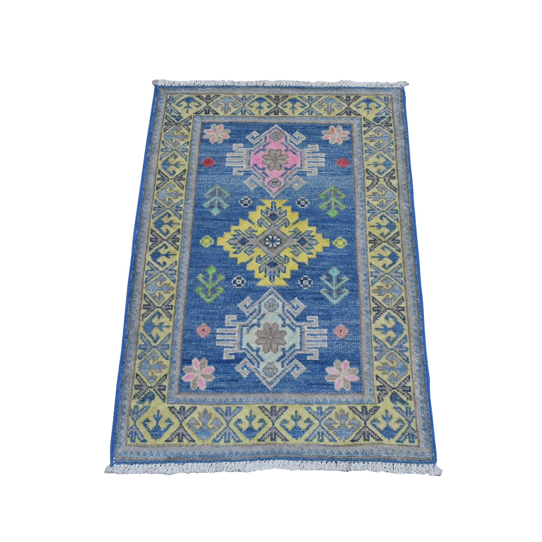 """2'x2'10"""" Colorful Blue Fusion Kazak Pure Wool Hand Knotted Oriental Rug 52370"""