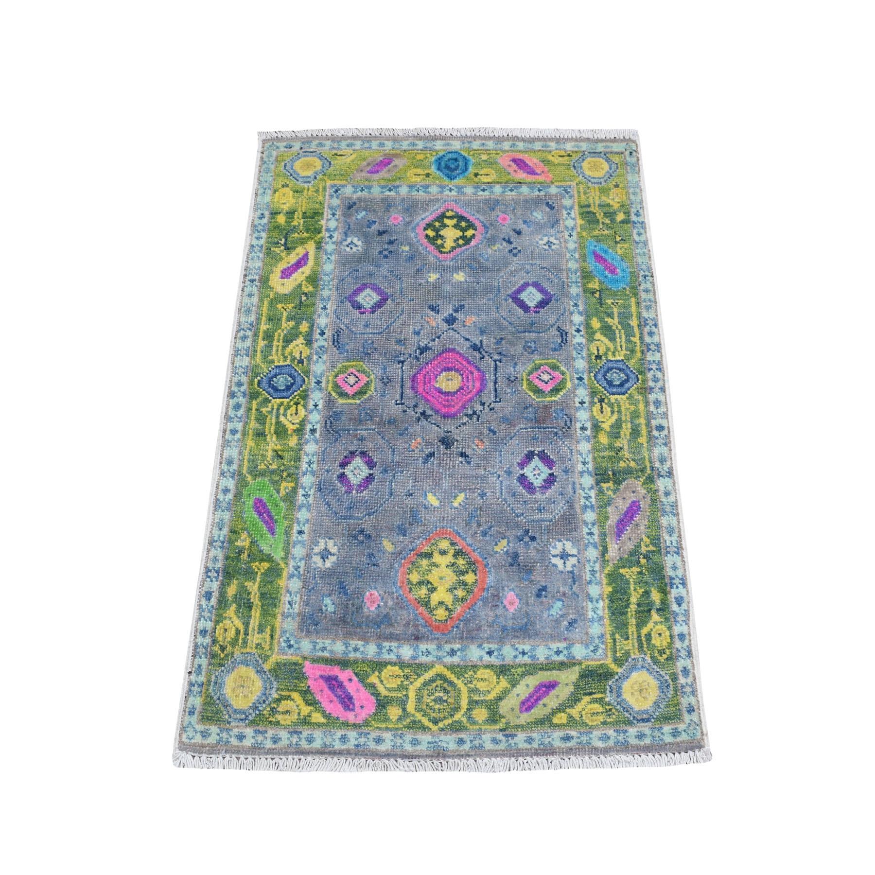 "2'X3'2"" Colorful Gray Fusion Kazak Pure Wool Geometric Design Hand Knotted Oriental Rug moaebc7e"