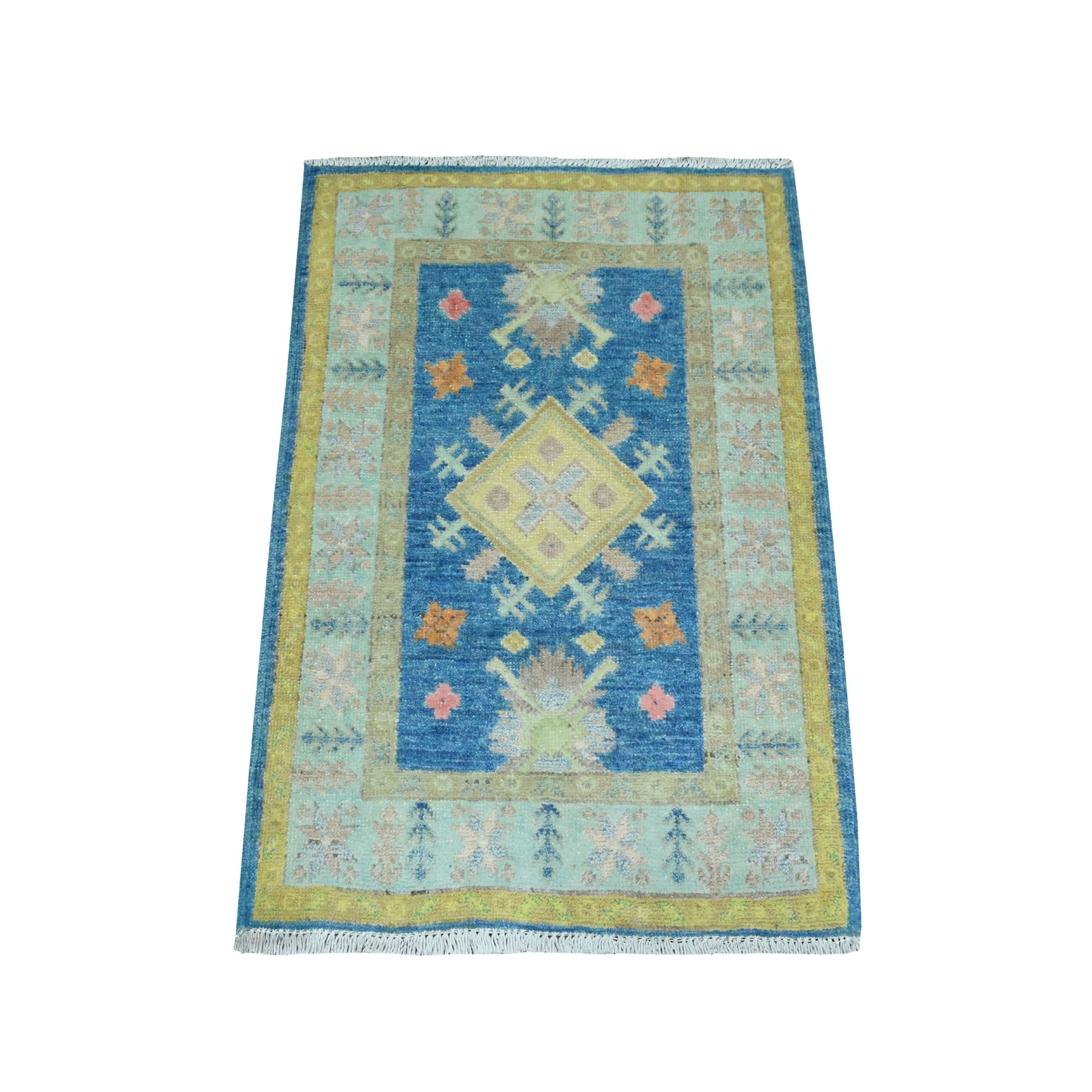 """2'x2'9"""" Colorful Blue Fusion Kazak Pure Wool Hand Knotted Oriental Rug 52380"""