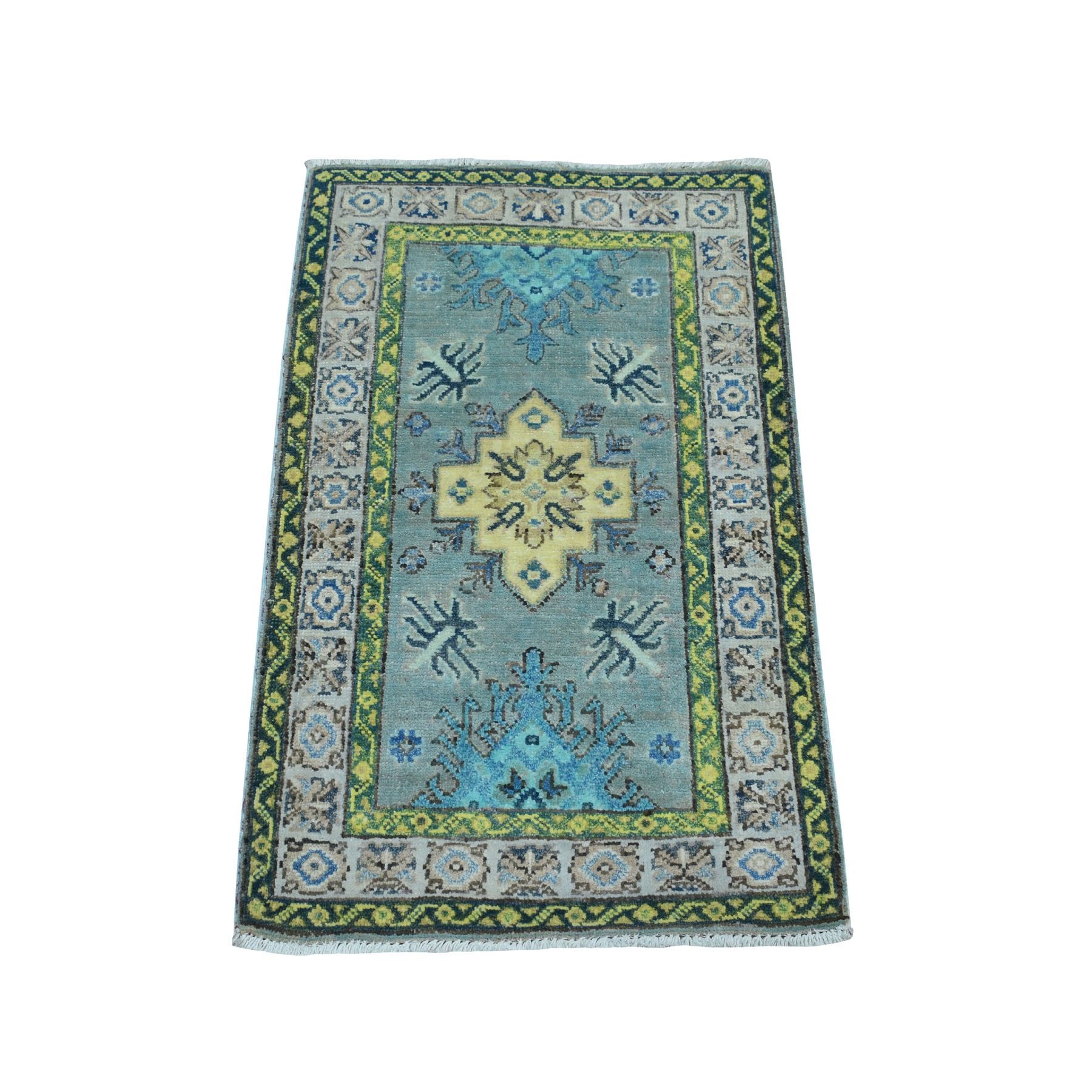 2'x3' Colorful Green Fusion Kazak Pure Wool Hand Knotted Oriental Rug 52382