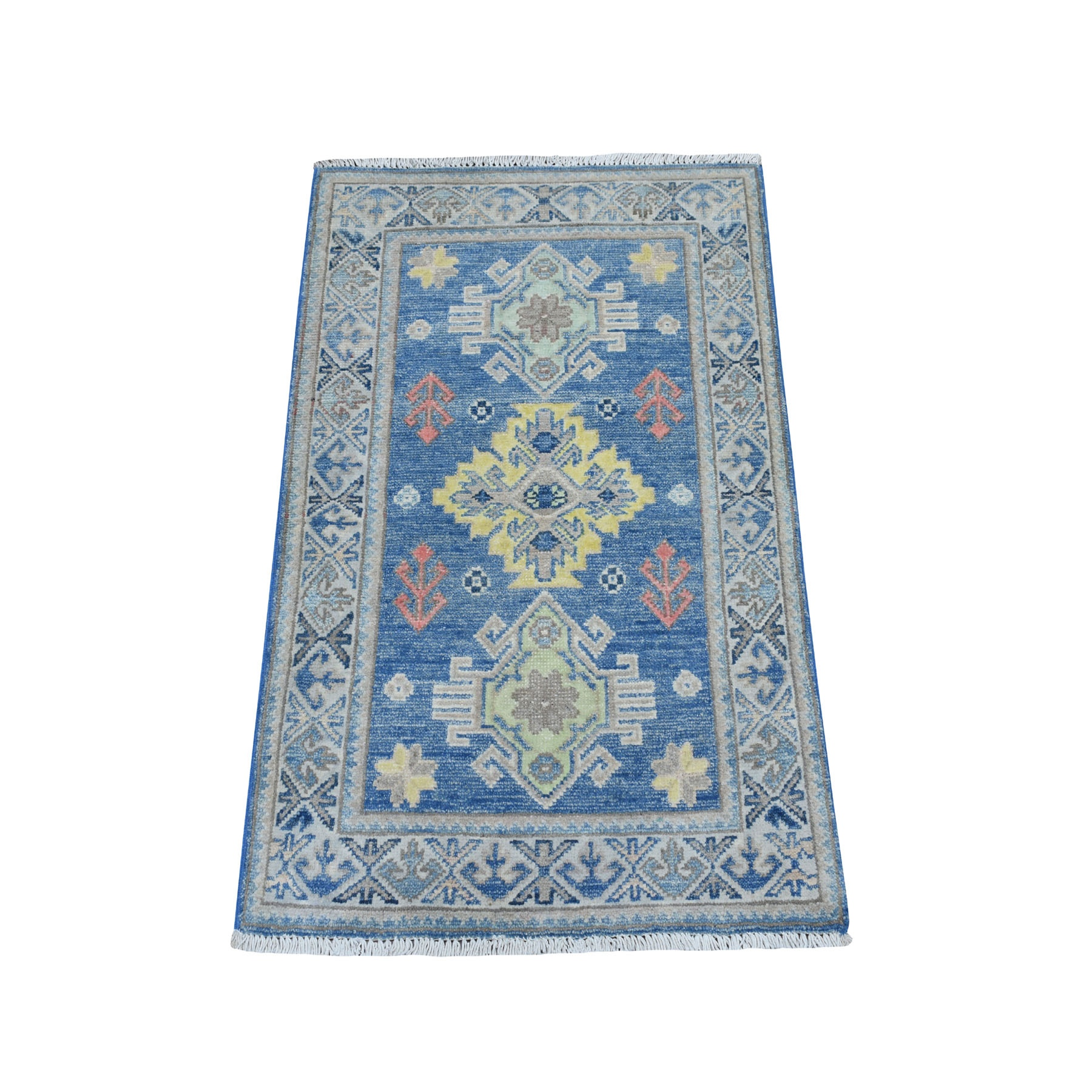 2'X3' Colorful Blue Fusion Kazak Pure Wool Hand Knotted Oriental Rug moaebc8c