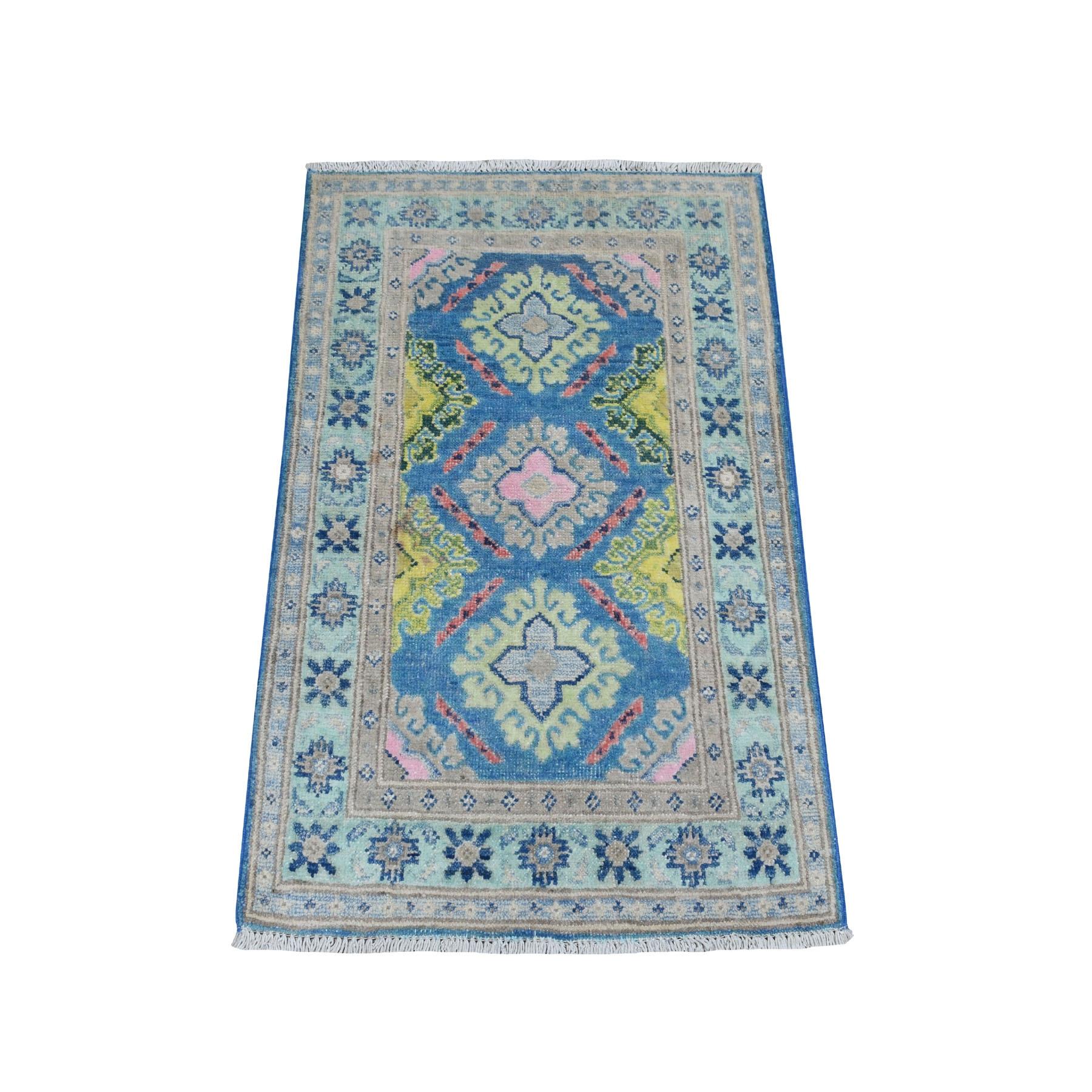 2'X3' Colorful Blue Fusion Kazak Pure Wool Hand Knotted Oriental Rug moaebc8e
