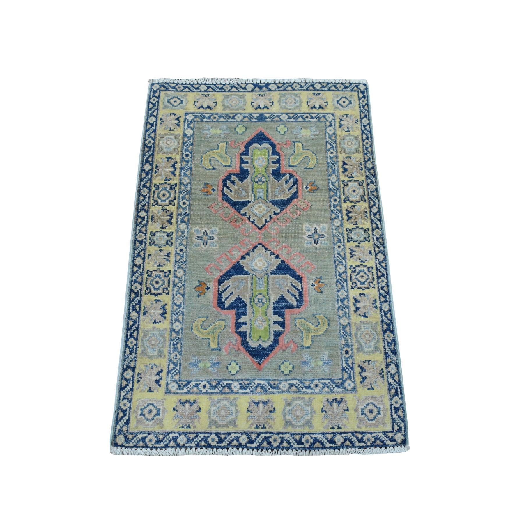 2'X3' Colorful Gray Fusion Kazak Pure Wool Geometric Design Hand Knotted Oriental Rug moaebc86