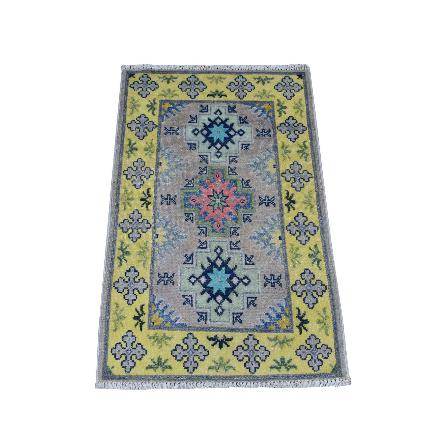 2'X3' Colorful Gray Fusion Kazak Pure Wool Geometric Design Hand Knotted Oriental Rug moaebc87