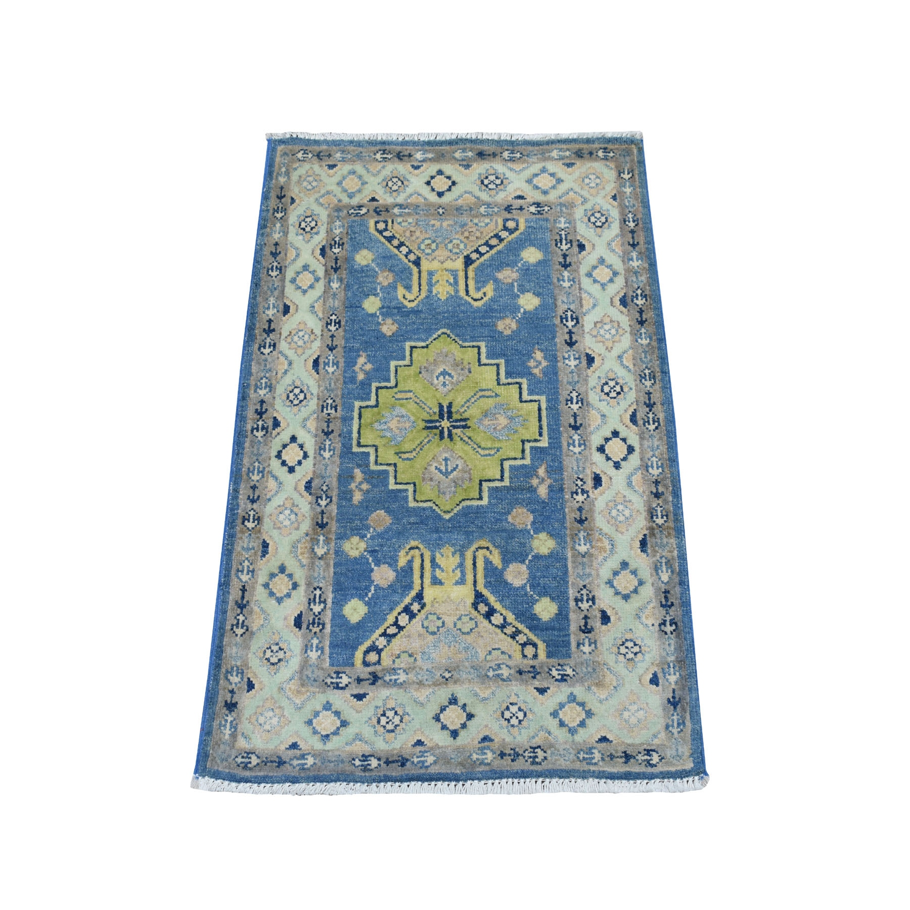 """2'X2'9"""" Colorful Blue Fusion Kazak Pure Wool Hand Knotted Oriental Rug moaebc89"""