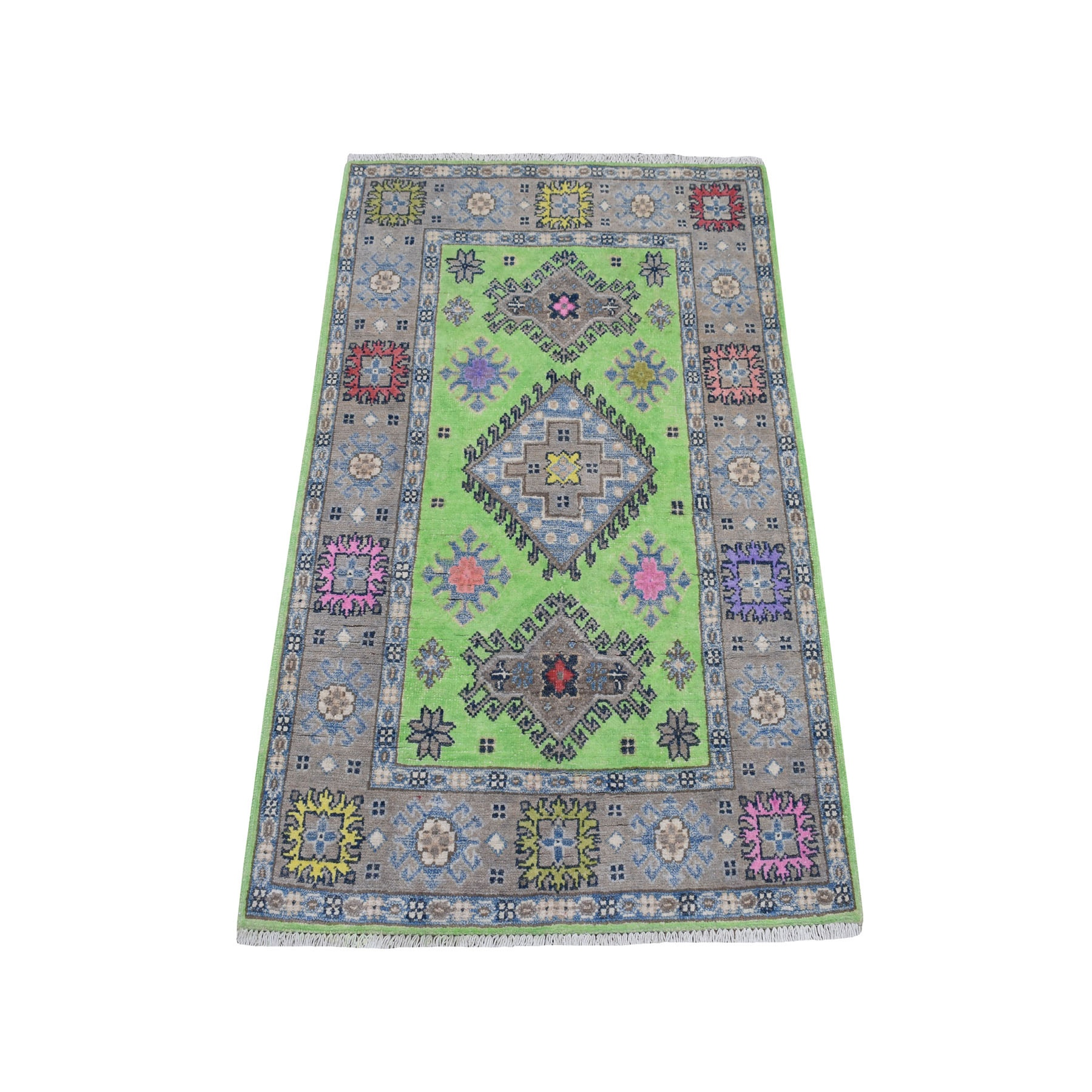 """2'8""""X4' Colorful Green Fusion Kazak Pure Wool Hand Knotted Oriental Rug moaebc90"""