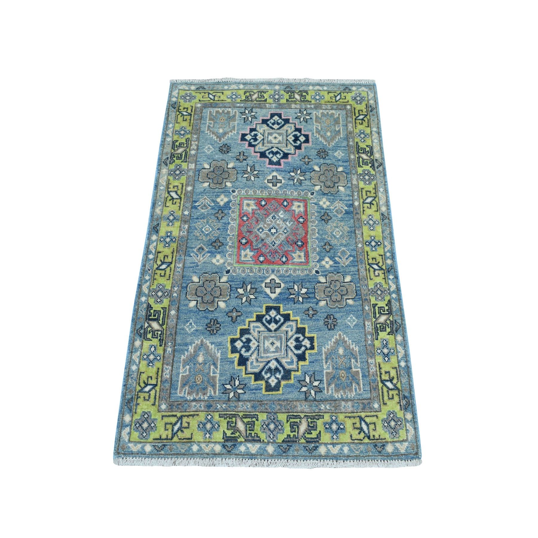 """2'7""""X3'10"""" Colorful Blue Fusion Kazak Pure Wool Hand Knotted Oriental Rug moaebc9b"""