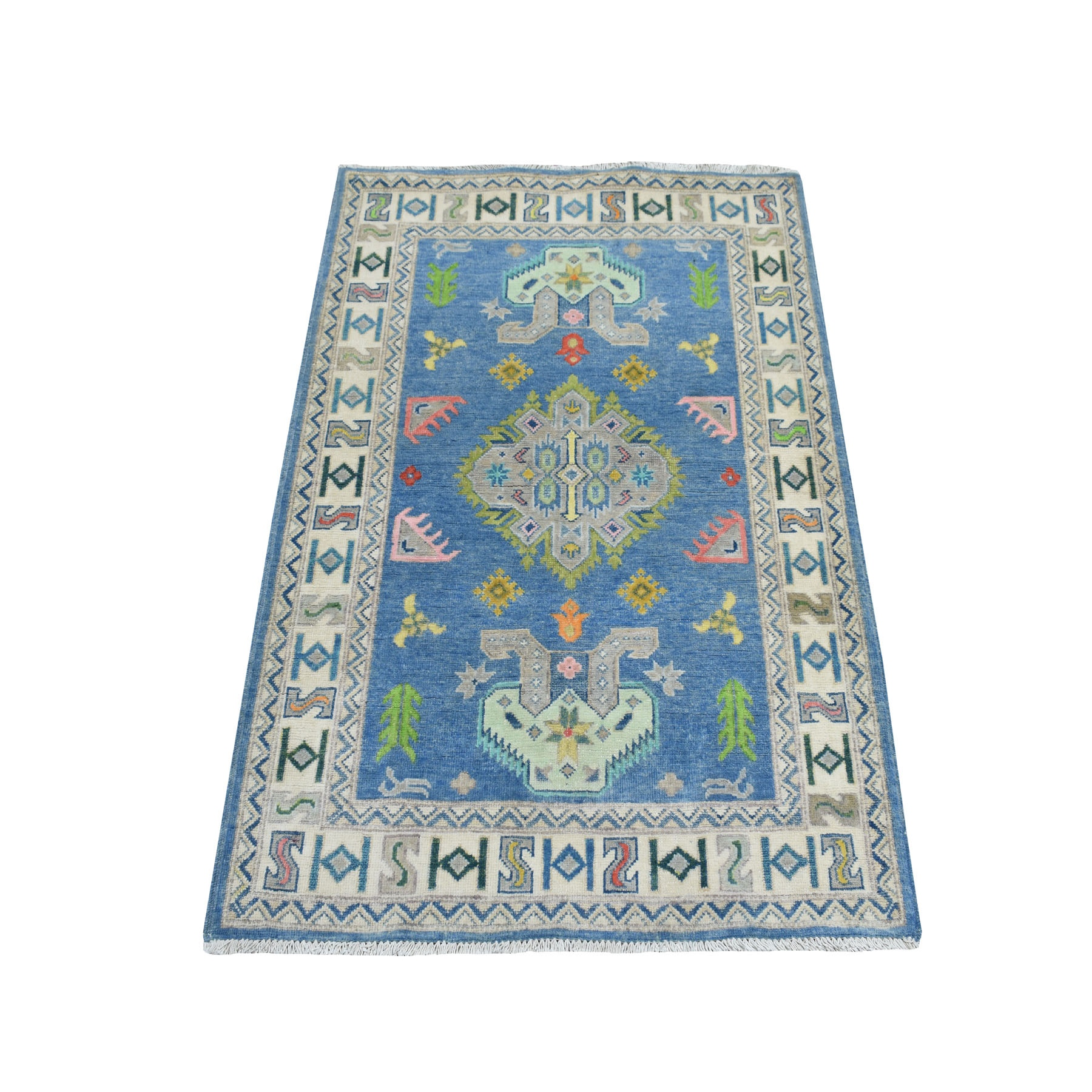 """3'3""""X4'6"""" Colorful Blue Fusion Kazak Pure Wool Hand Knotted Oriental Rug moaebc9c"""
