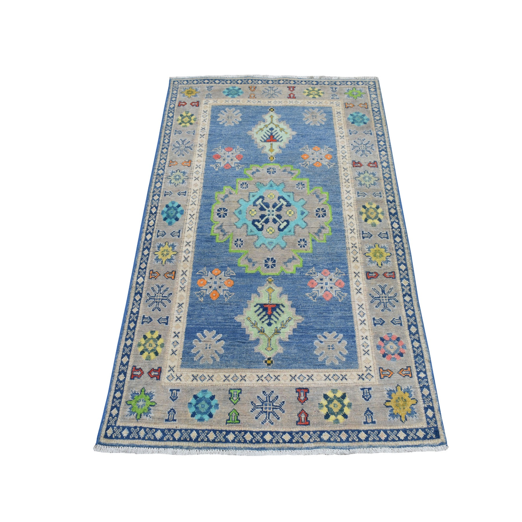 "3'1""X5' Colorful Blue Fusion Kazak Pure Wool Hand Knotted Oriental Rug moaebc9e"