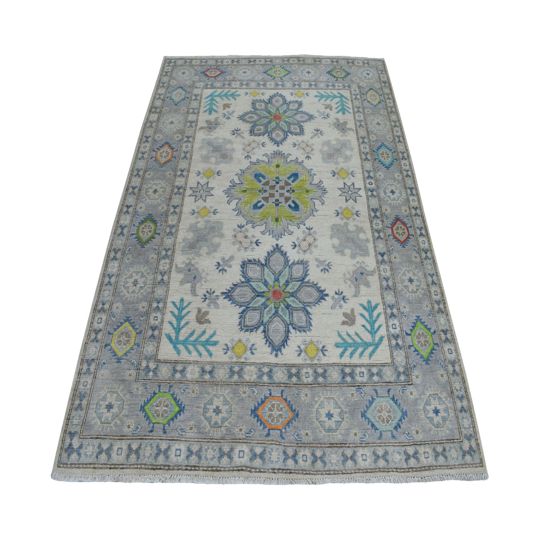 5'x7' Colorful Gray Fusion Kazak Pure Wool Geometric Design Hand Knotted Oriental Rug