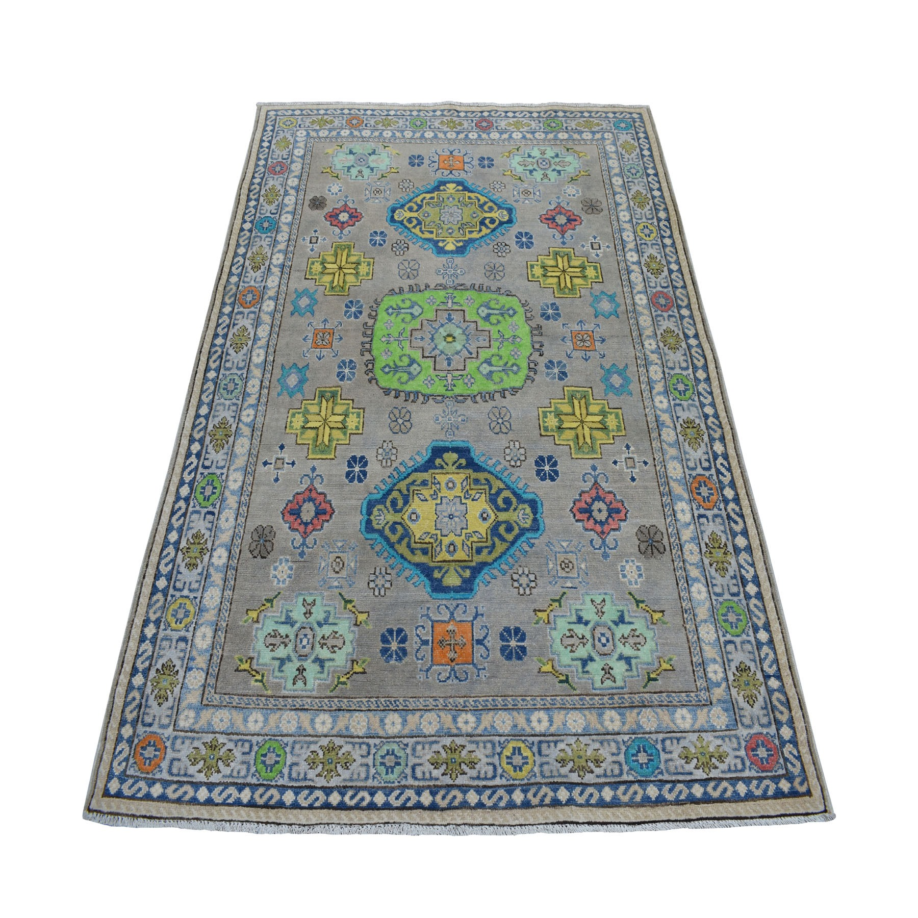 "5'X6'6"" Colorful Gray Fusion Kazak Pure Wool Geometric Design Hand Knotted Oriental Rug moaebd0a"