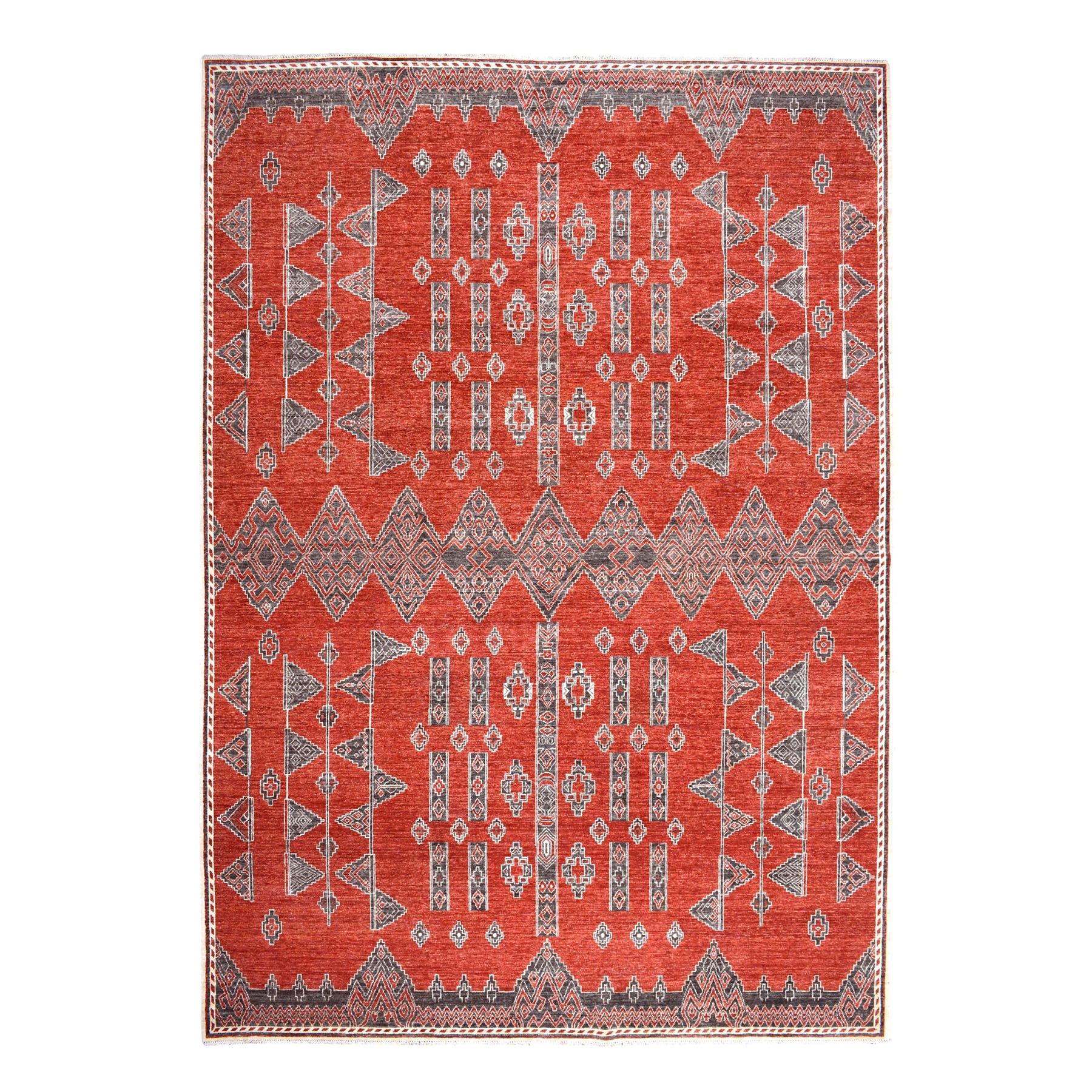 "9'10""X13'4"" Rust Red Pure Wool Peshawar Berber Motifs Hand Knotted Oriental Rug moaebd06"