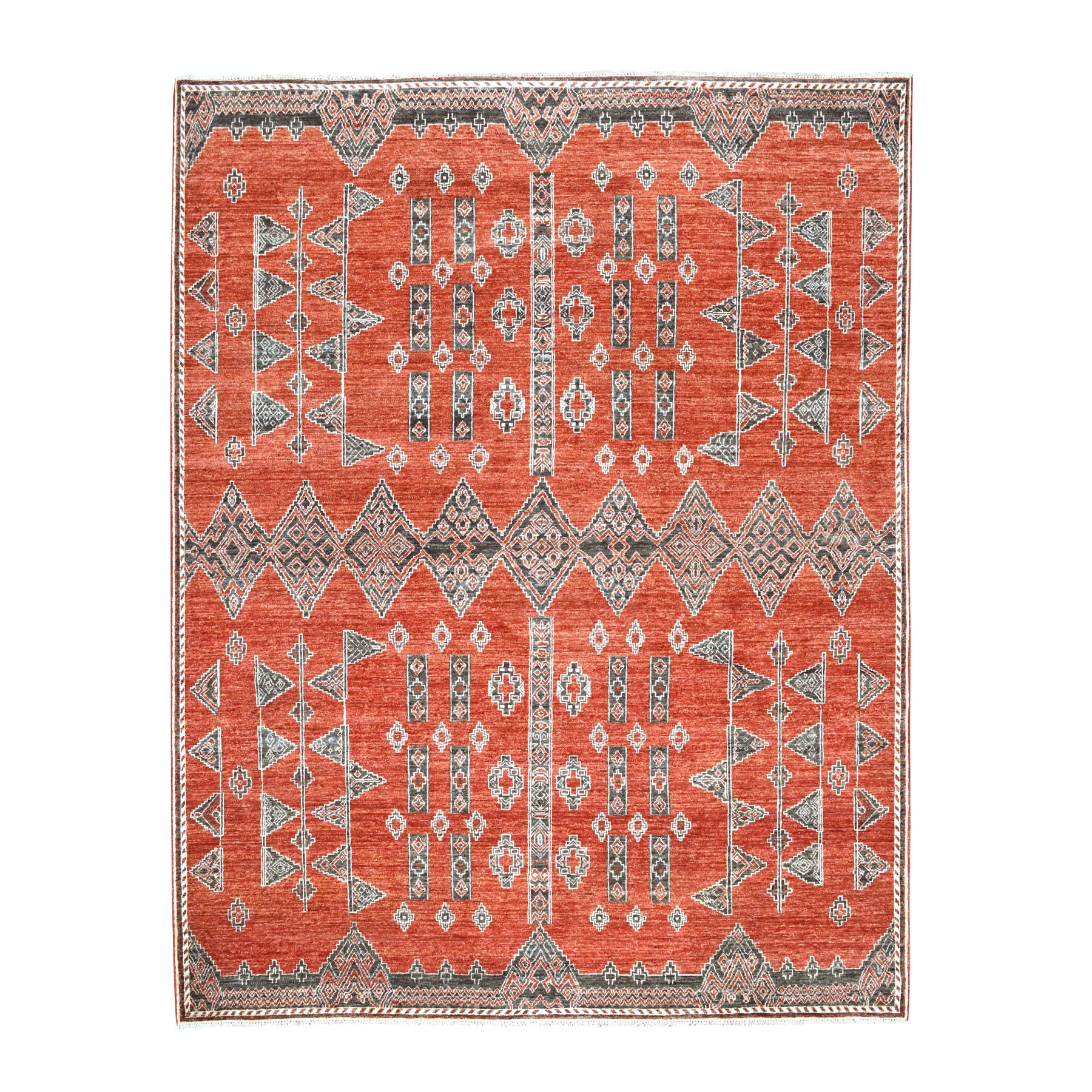 "8'x9'8"" Rust Red Pure Wool Peshawar with Southwest Motifs Hand Knotted Oriental Rug"
