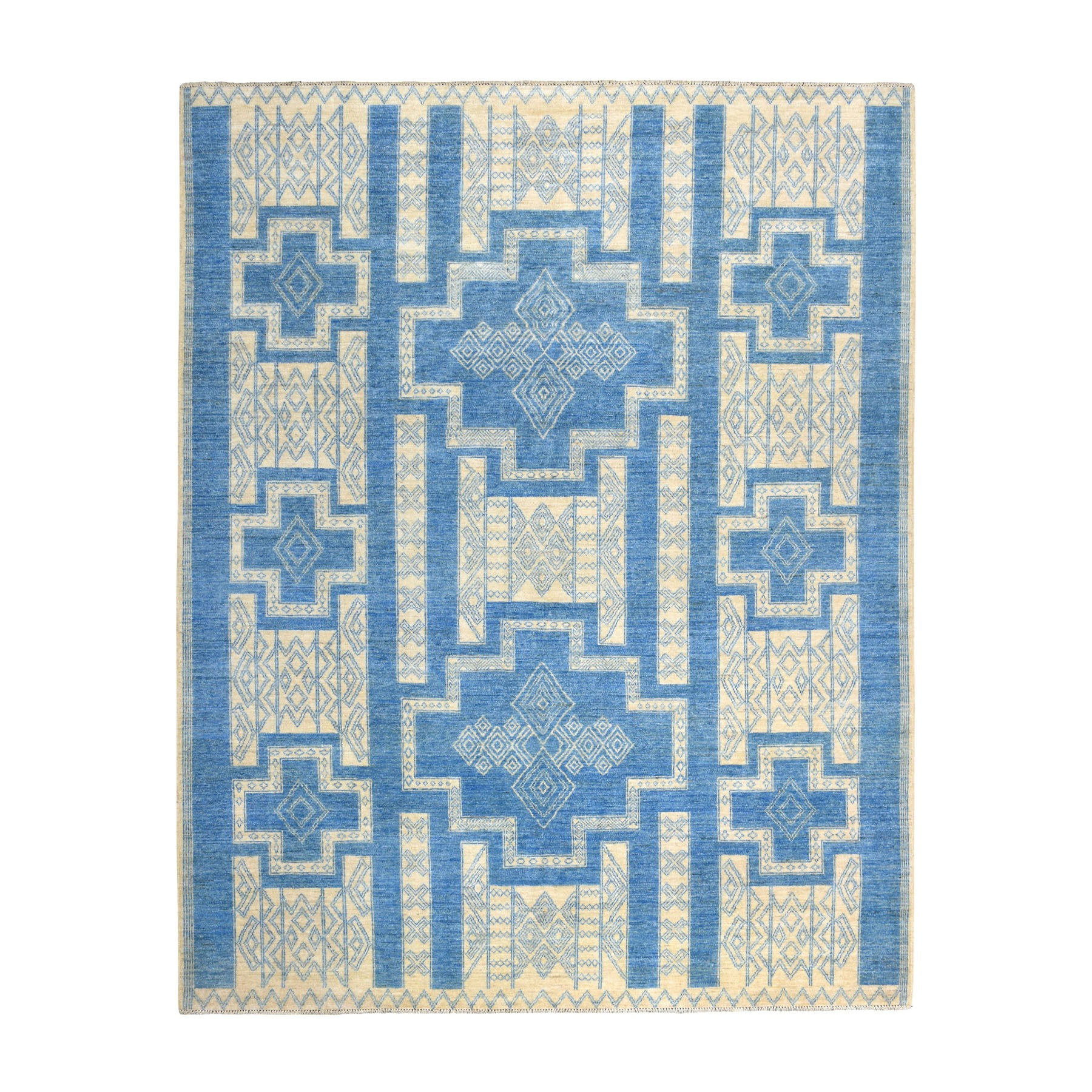8'x10' Blue Hand Knotted Pure Wool Peshawar with Southwestern Motifs Oriental Rug