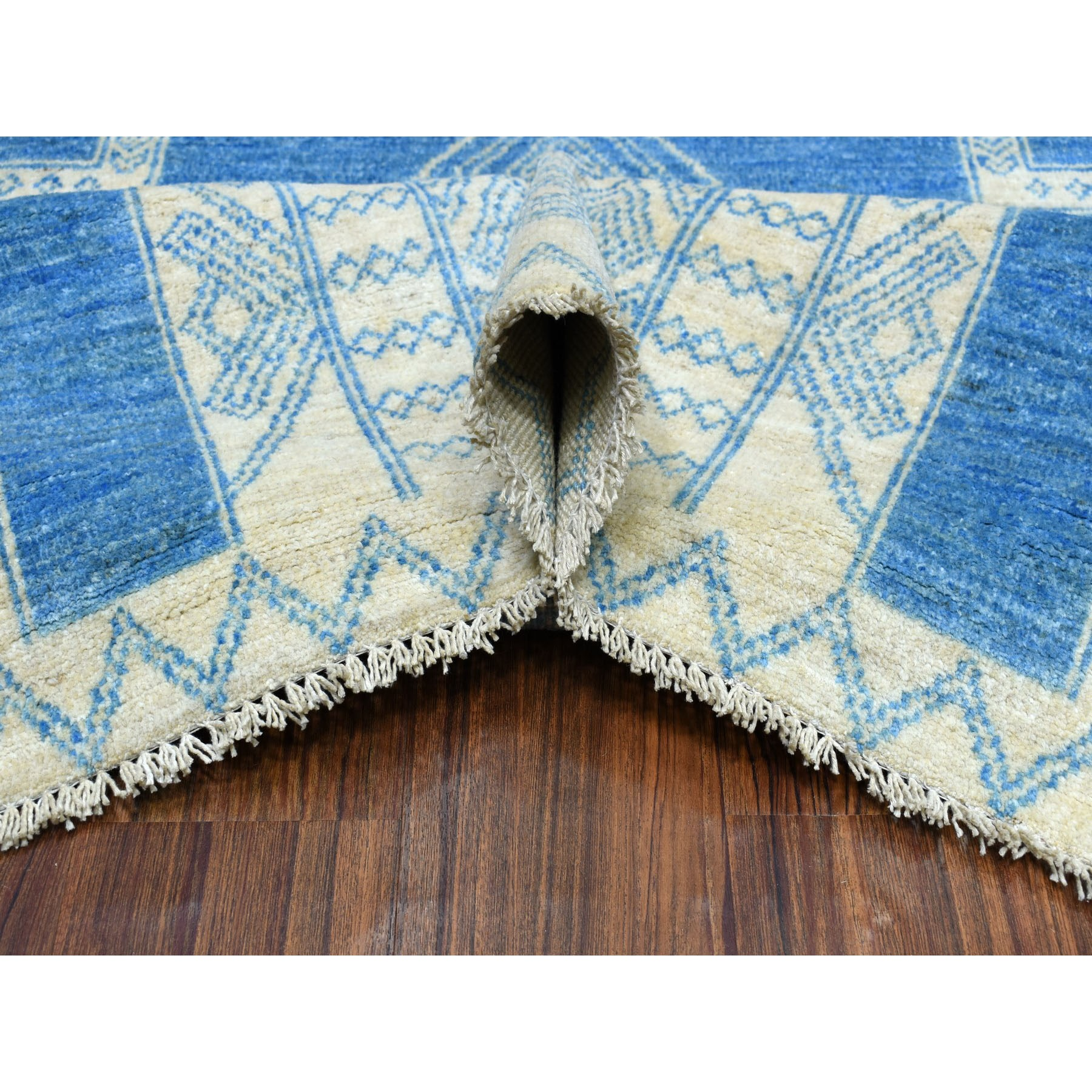 8-x10- Blue Hand Knotted Pure Wool Peshawar with Berber Motifs Oriental Rug