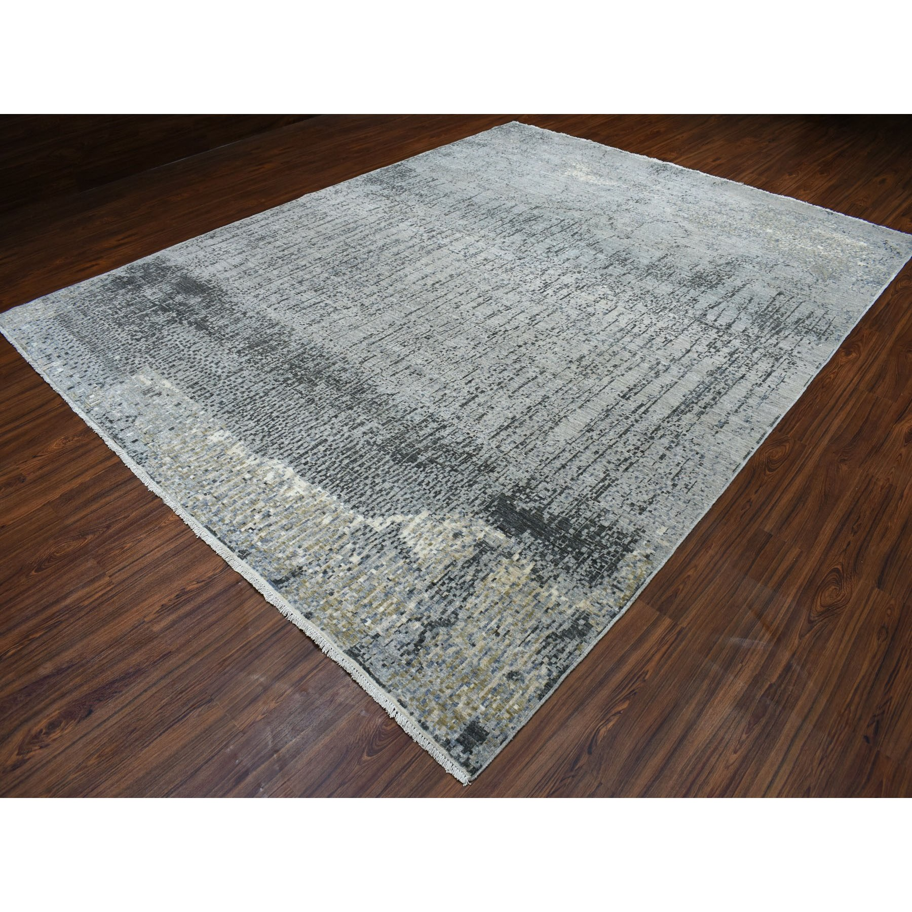 9-3 x11-9  Gray Pure Wool Abstract Design Hand Knotted Oriental Rug