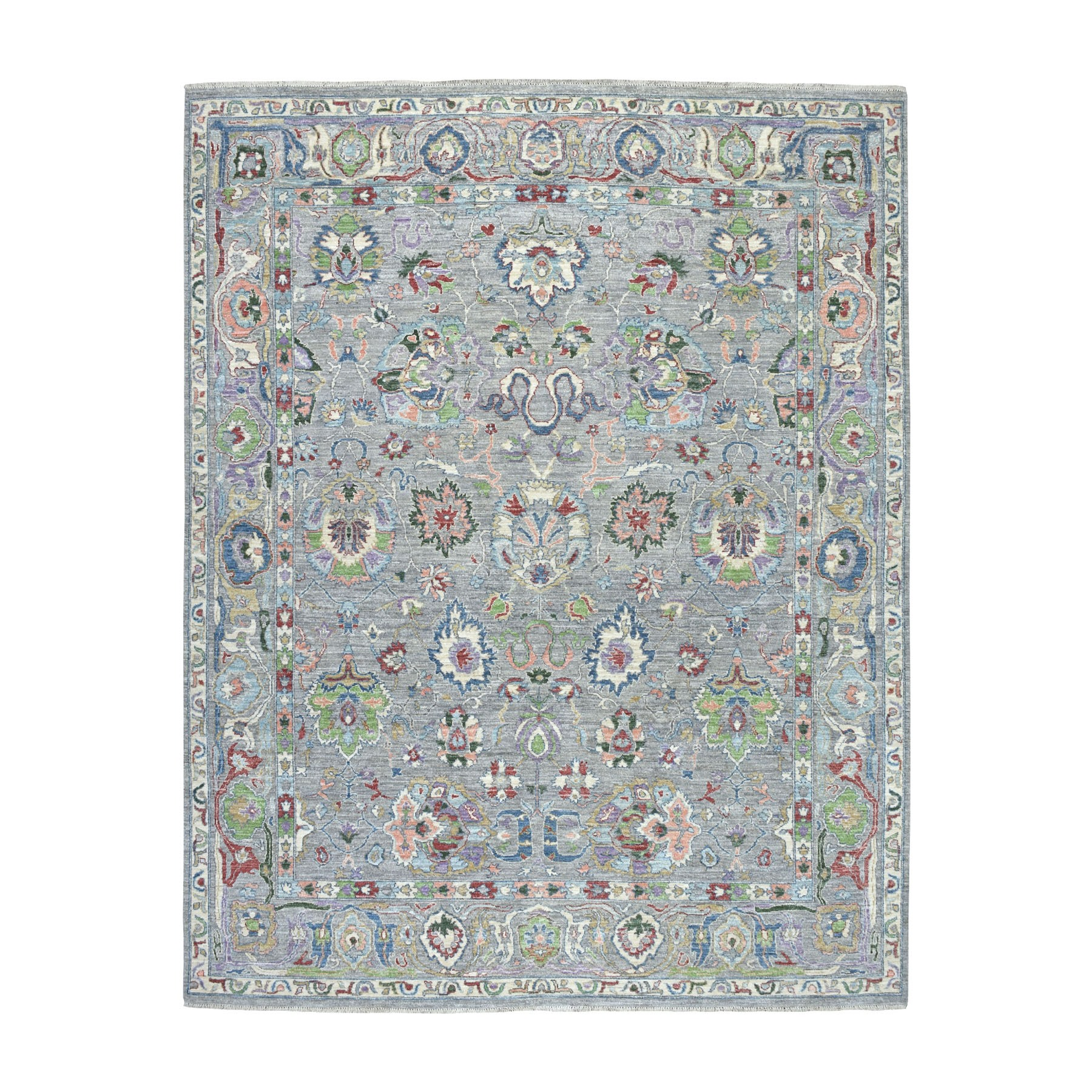 "8'x10'6"" Gray Peshawar ,Colorful Collection Pure Wool Hand Knotted Oriental Rug"