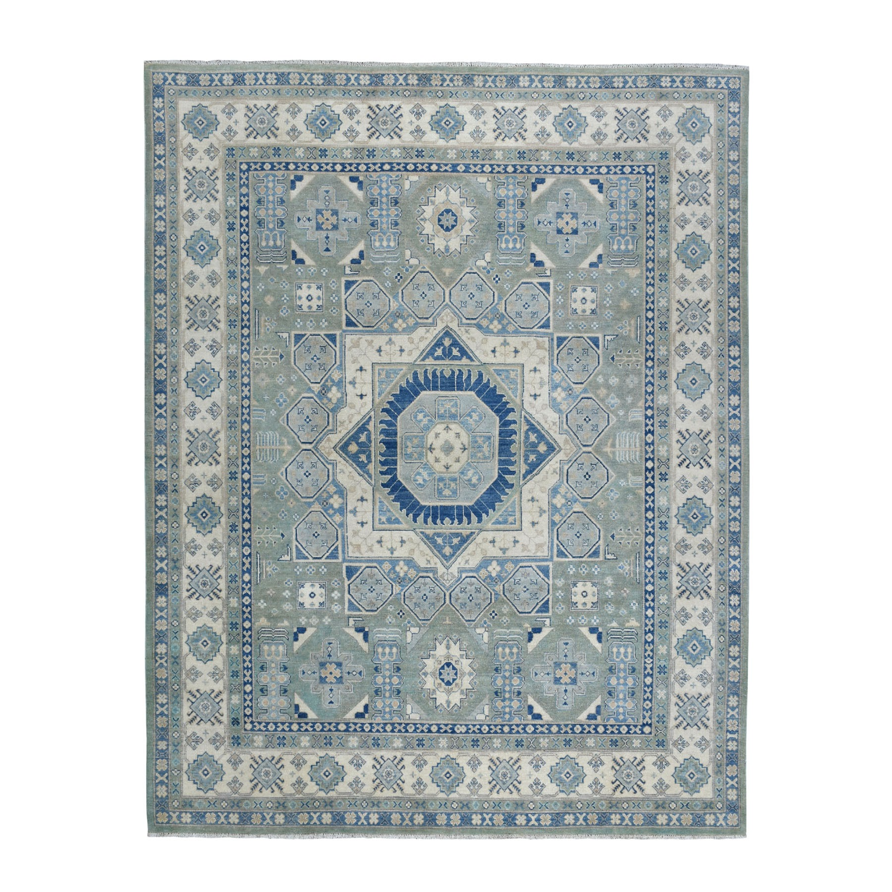 "8'2""x9'6"" Gray Vintage Look Kazak With Mamluk Design Pure Wool Hand Knotted Oriental Rug"
