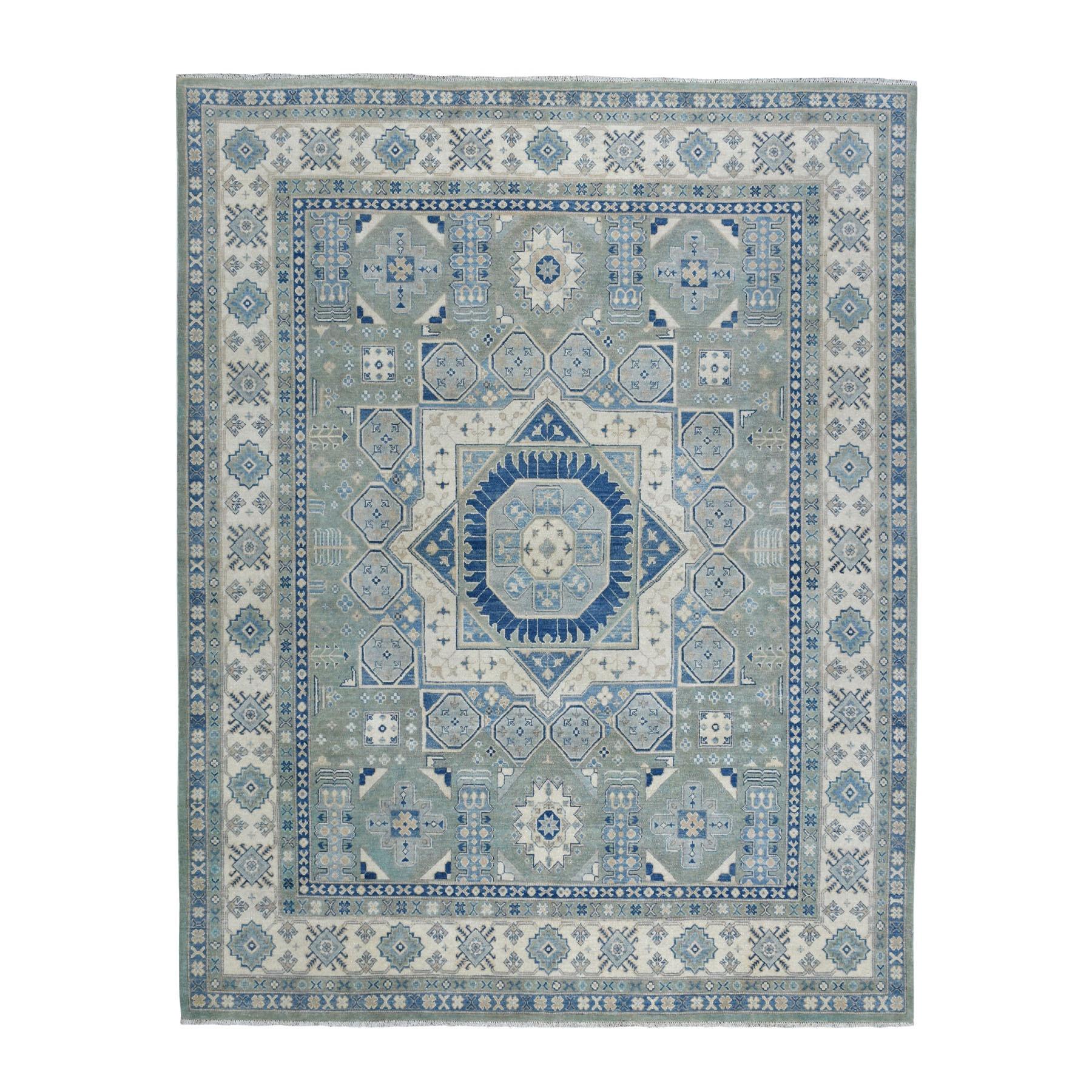 "8'2""X9'6"" Gray Vintage Look Kazak With Mamluk Design Pure Wool Hand Knotted Oriental Rug moaebda7"
