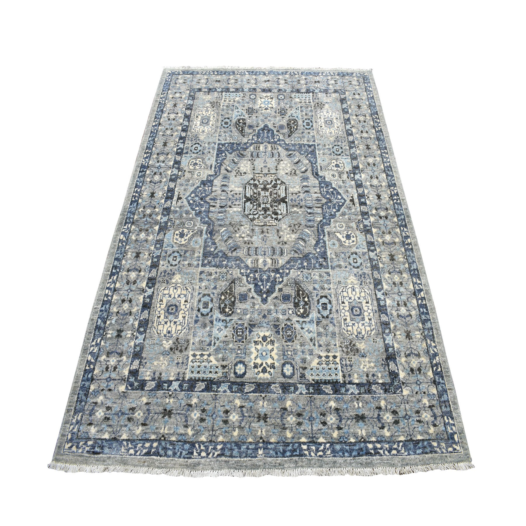 5'X7' Gray Peshawar With Mamluk Design Pure Wool Hand Knotted Oriental Rug moaebdb6