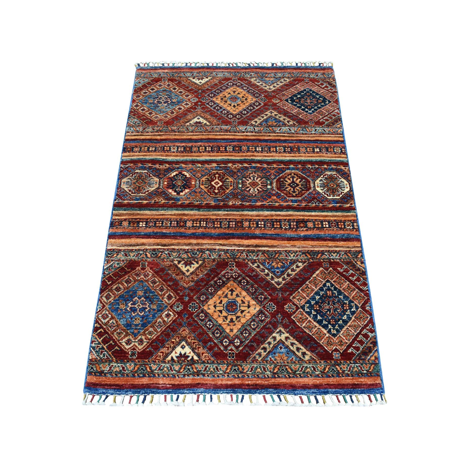 "3'2""X4'10"" Khorjin Design Colorful Super Kazak Pure Wool Hand Knotted Oriental Rug moaebdca"